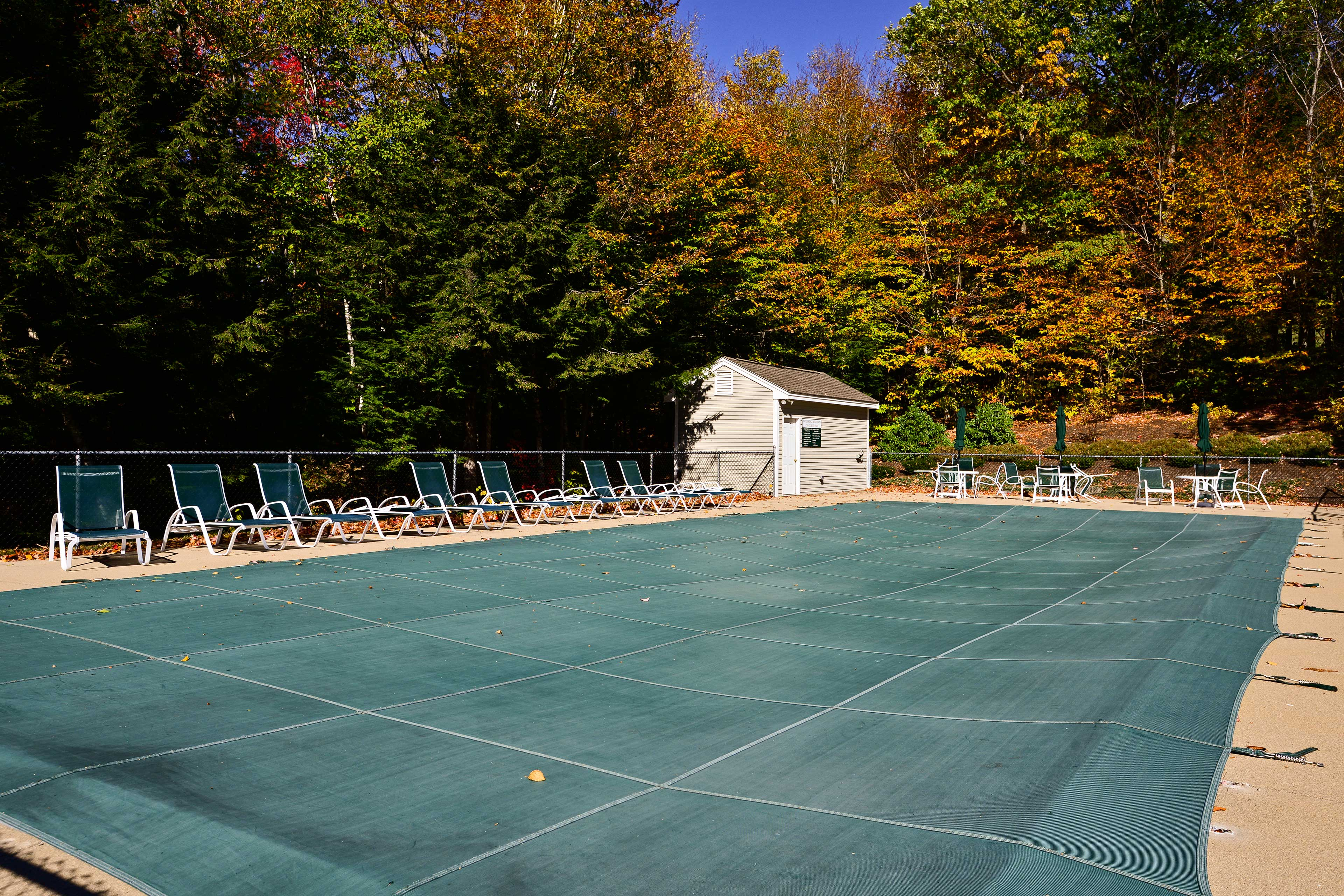 The pool is open in the summer months.