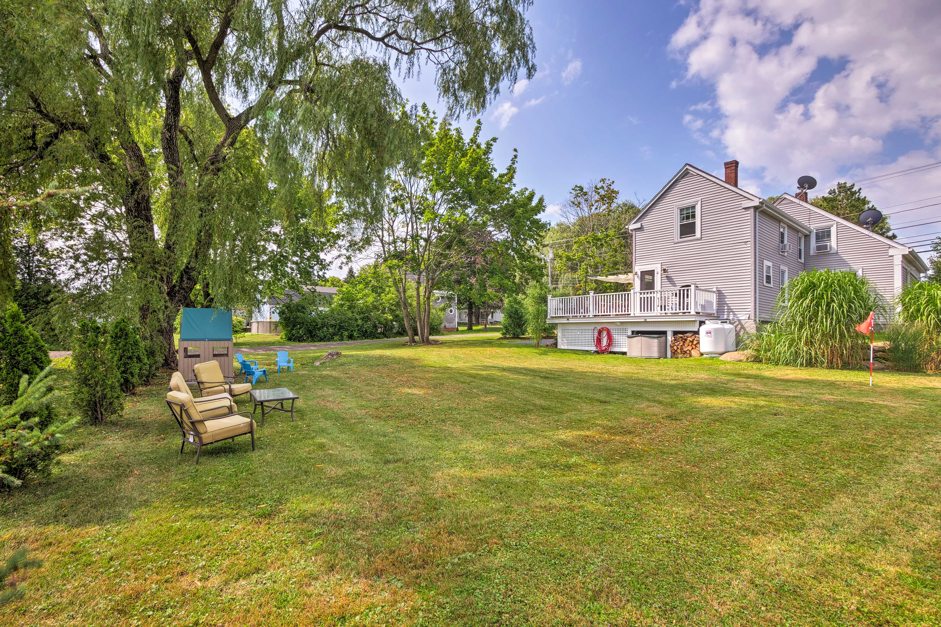 The backyard offers tons of space to run around and play.