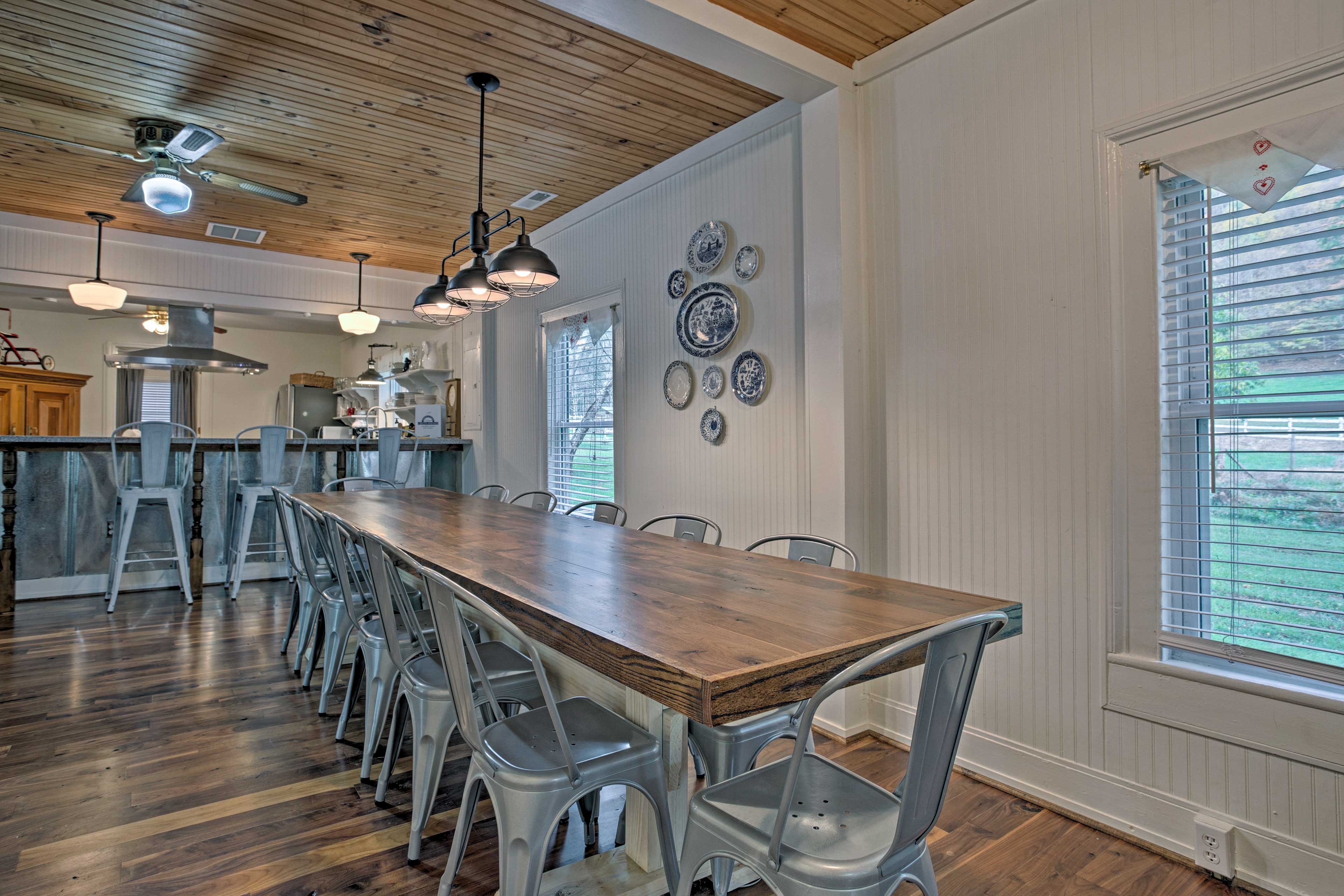 Everyone can enjoy a homemade meal at this 12-person formal dining table.