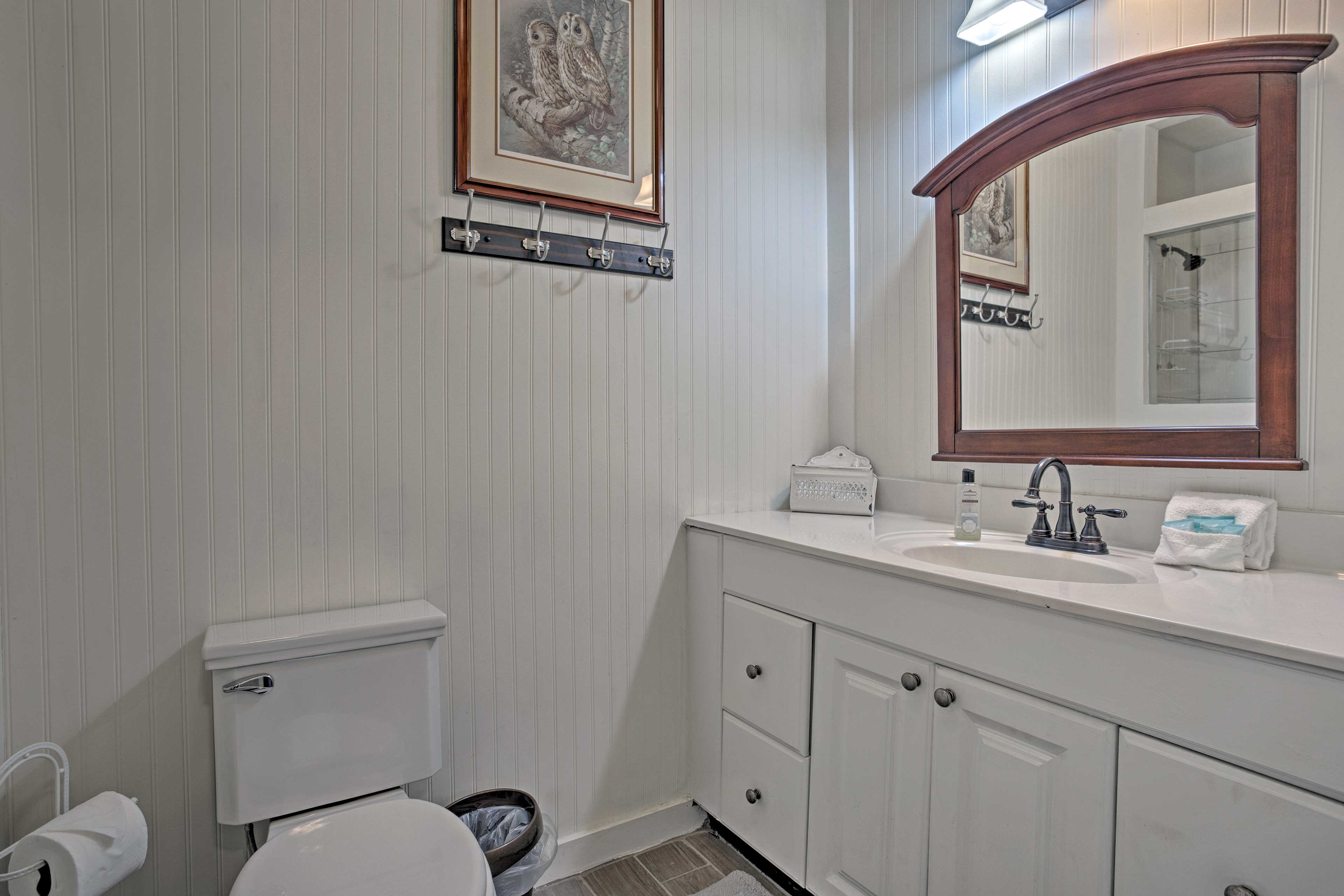 You'll love getting ready in this pristine bathroom.