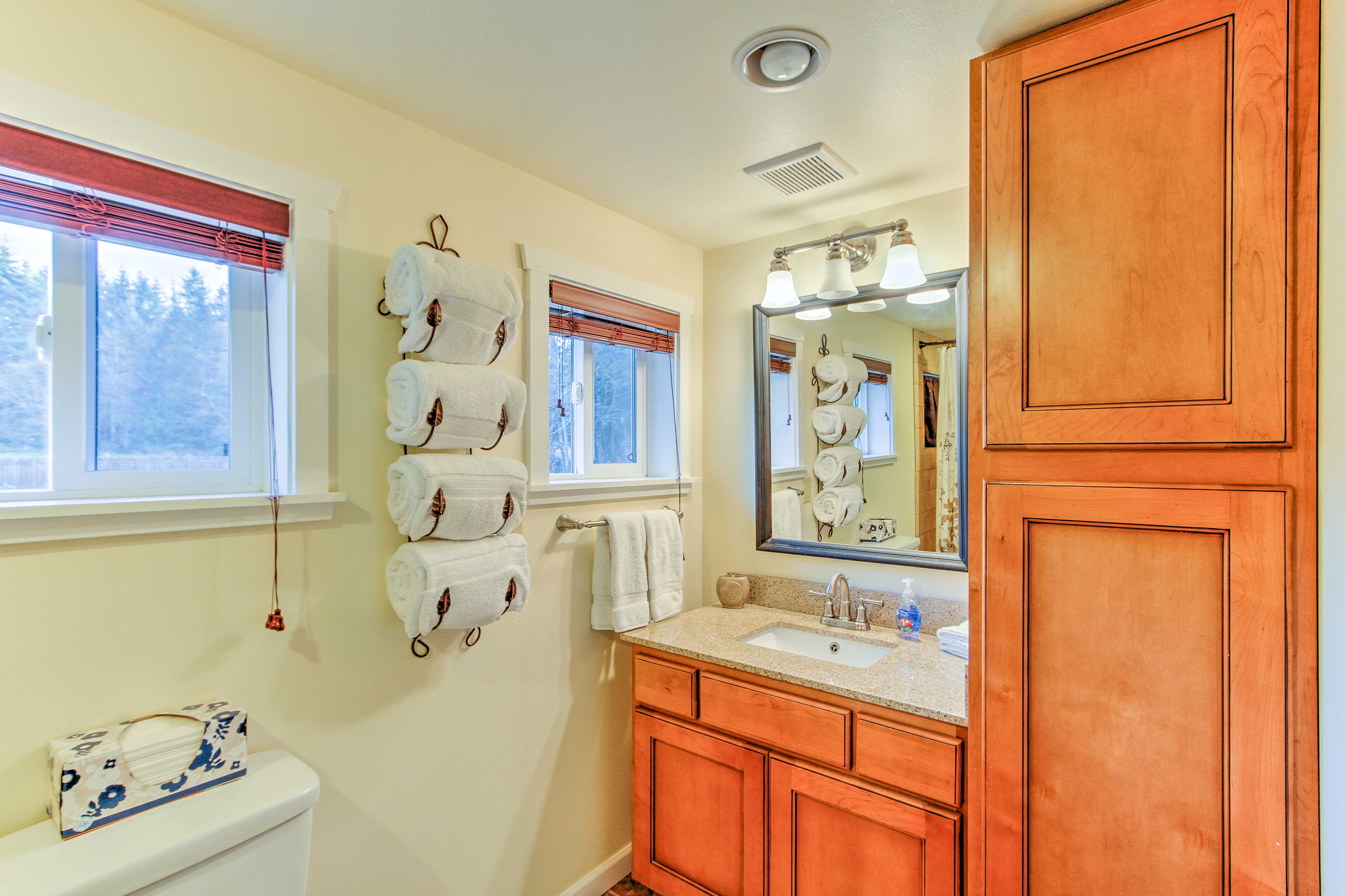 The second bathroom offers a shower/tub combo.