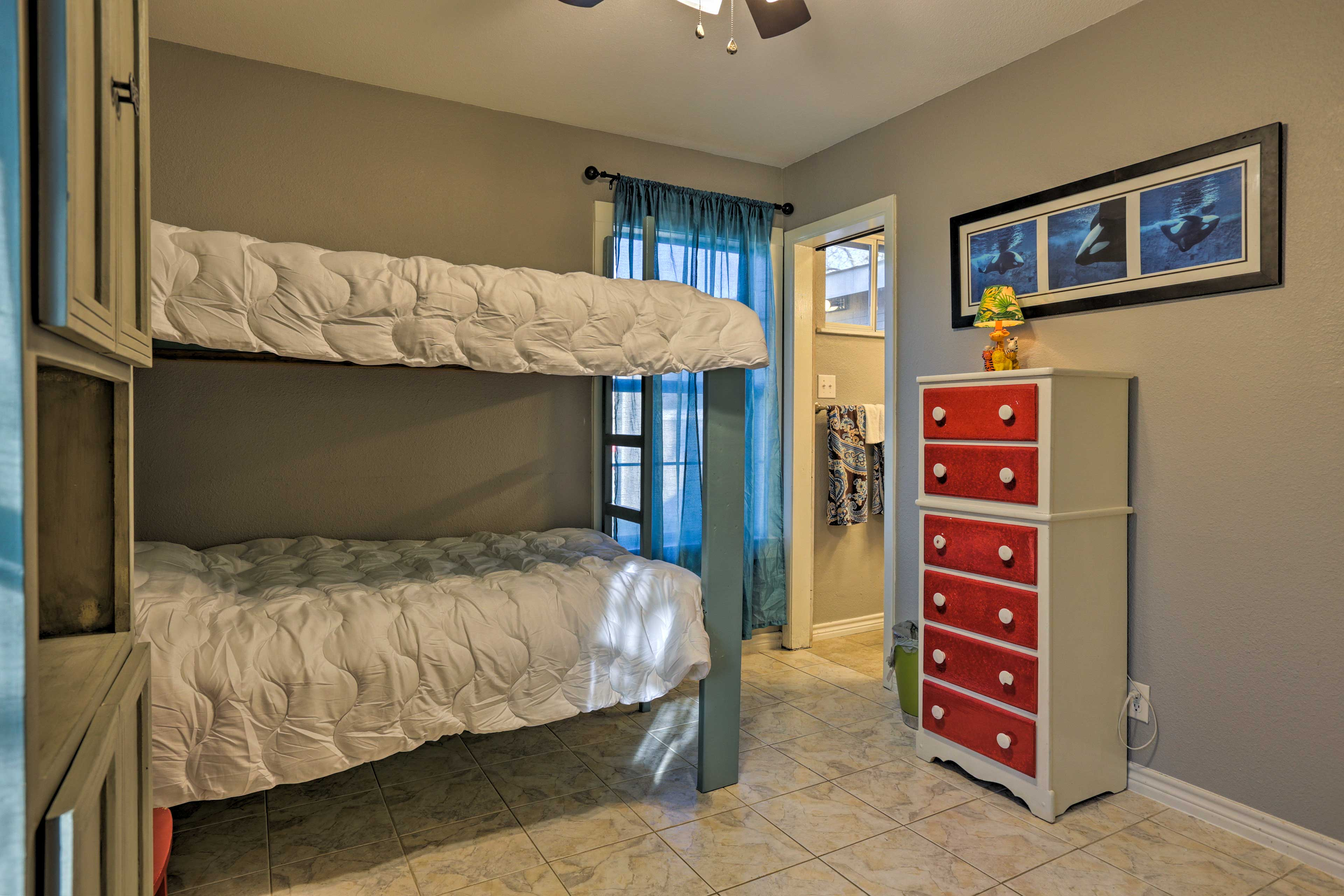 Two guests can share this bedroom, complete with a twin-over-twin bunk bed.