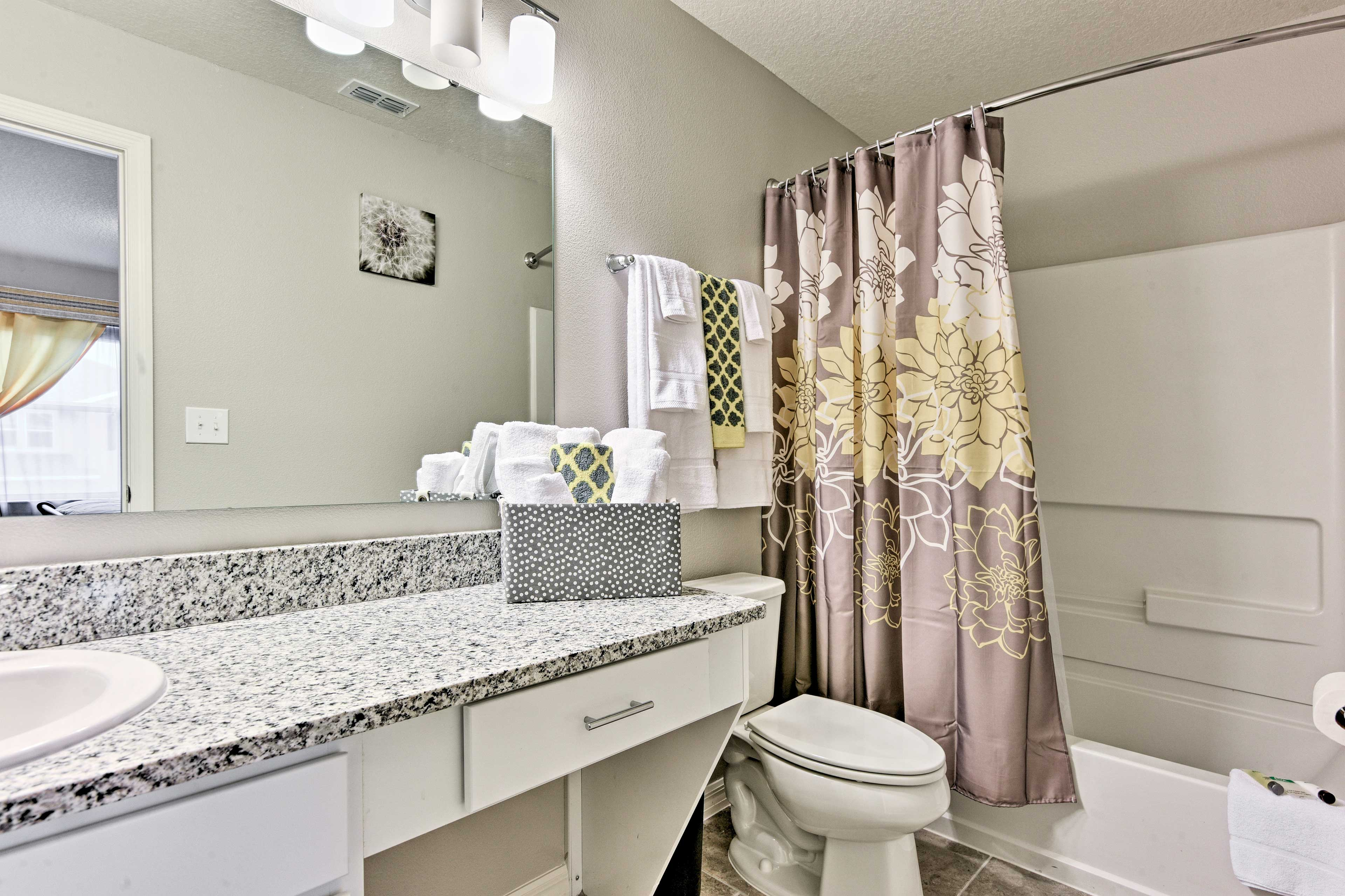 This home is equipped with 3 full bathrooms and one half-bath.
