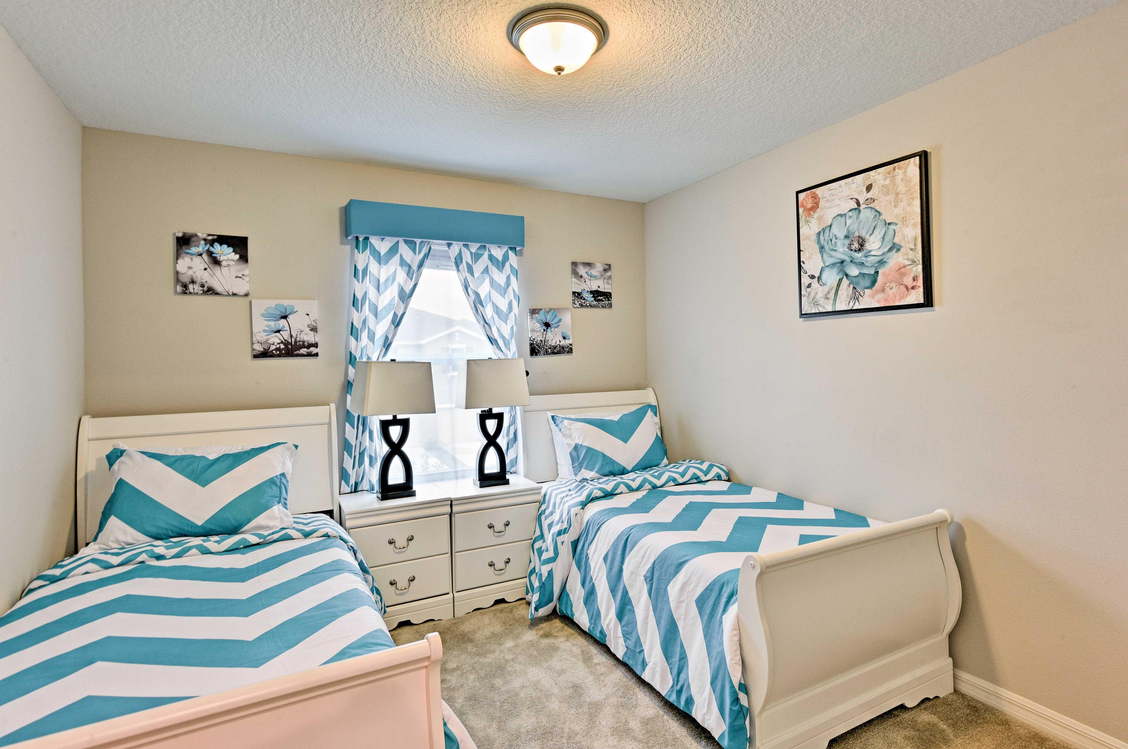 Bedroom 3 hosts 2 twin beds.