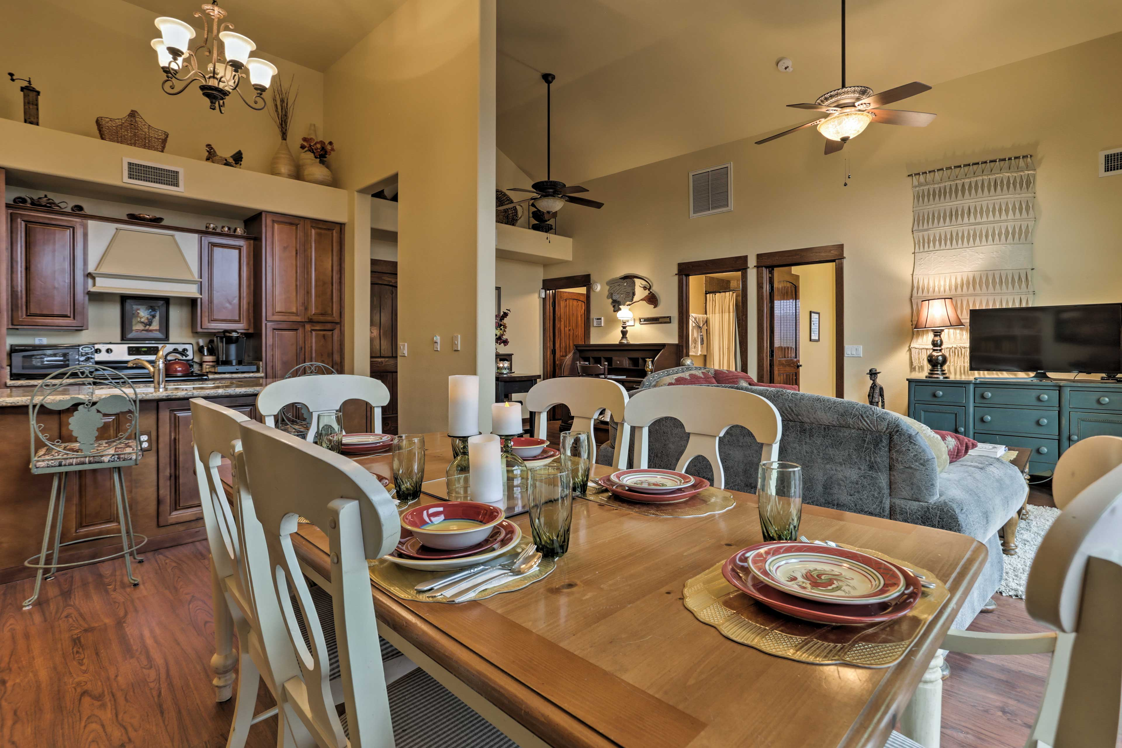 Relish homemade meals around the 6-person dining table.