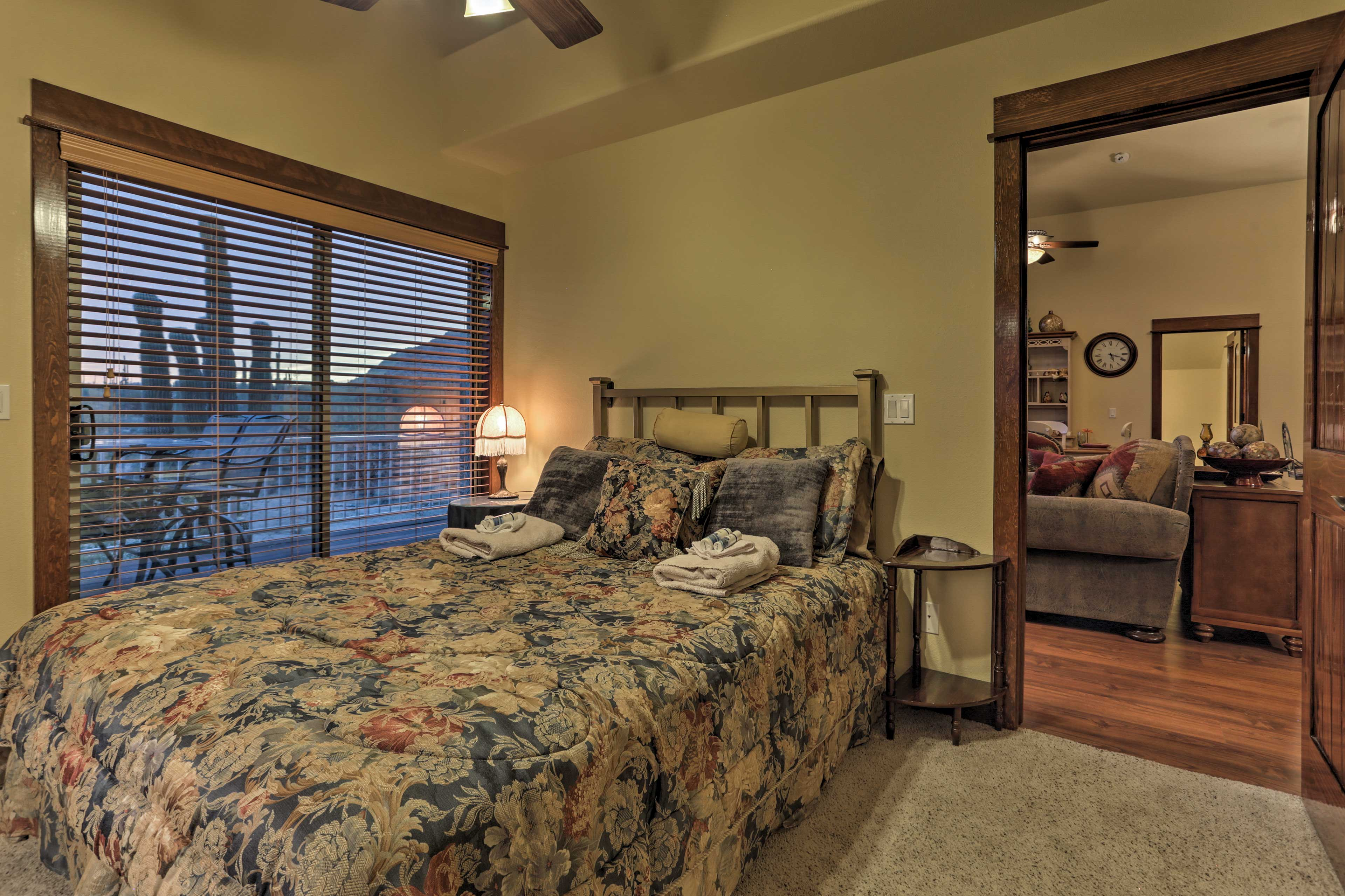 Additional guests will sleep soundly in this second queen bed.