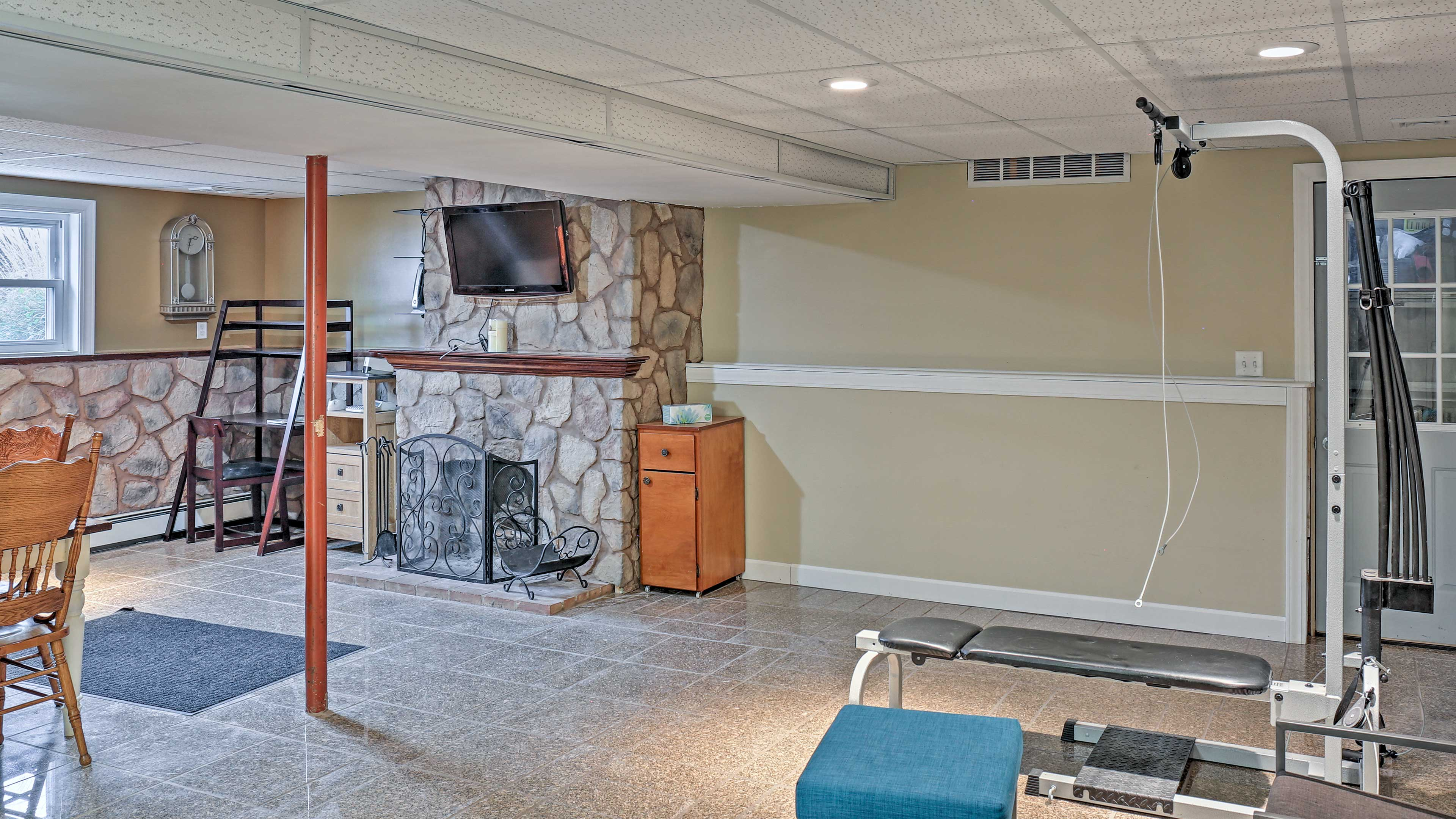 Get a workout in downstairs to start your day off on the right note!