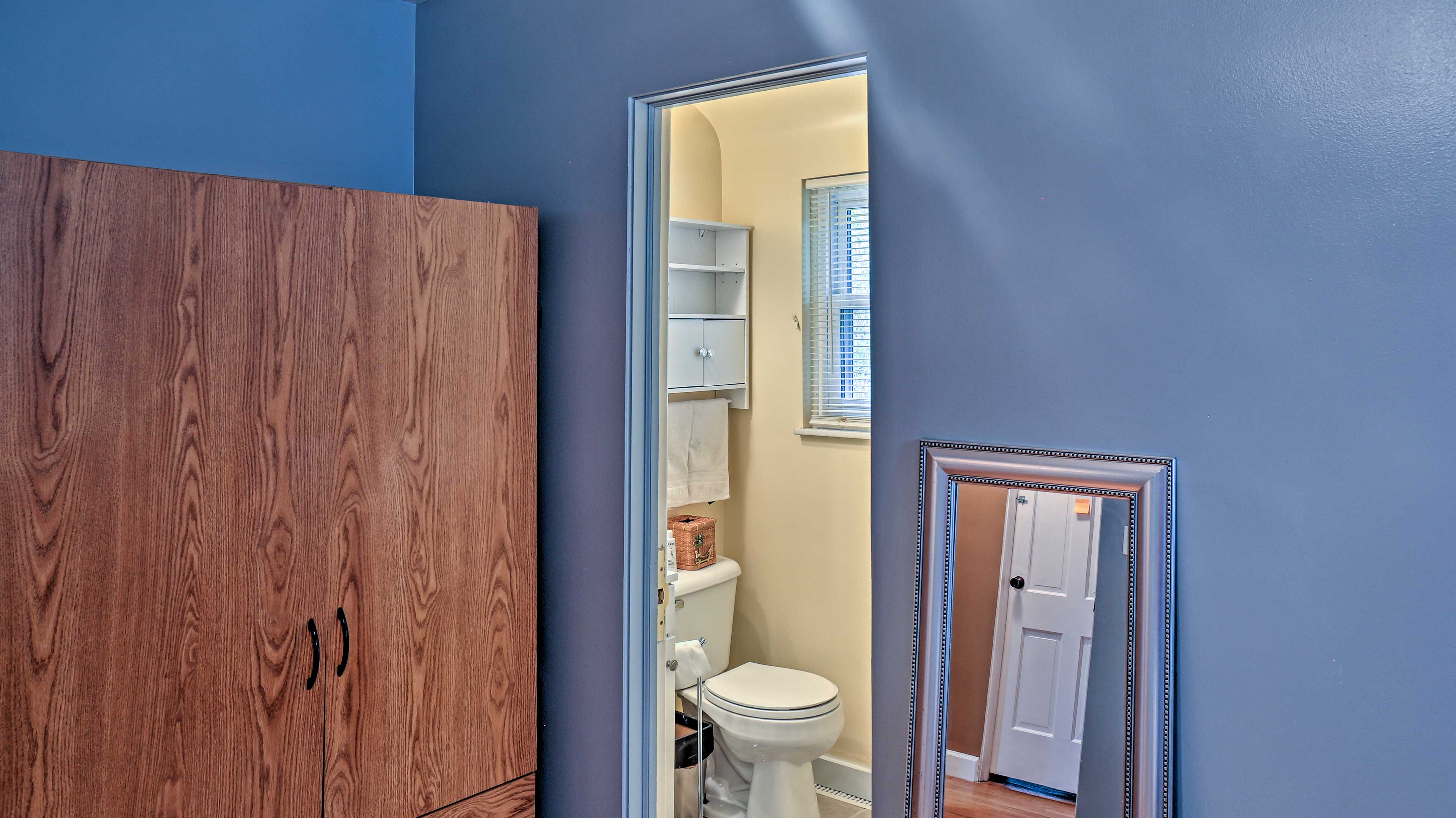 The third full bathroom has a stand-up shower for additional space to get ready.