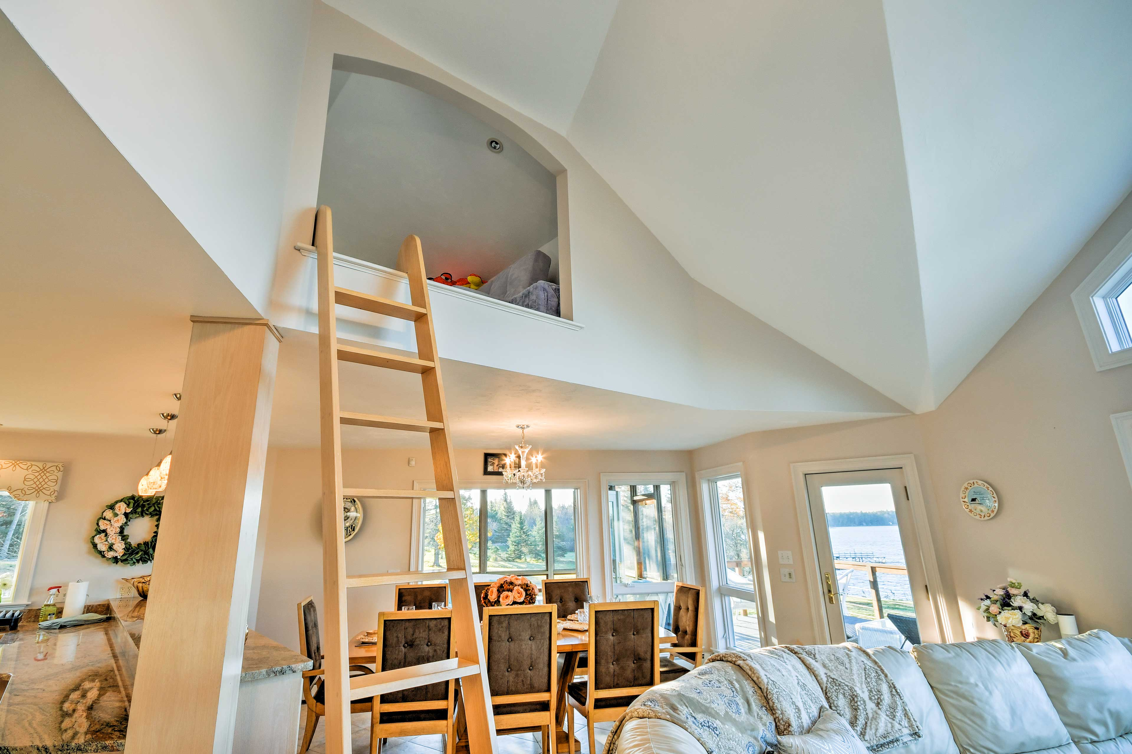 The kids can find a secret retreat in the loft above the living room!