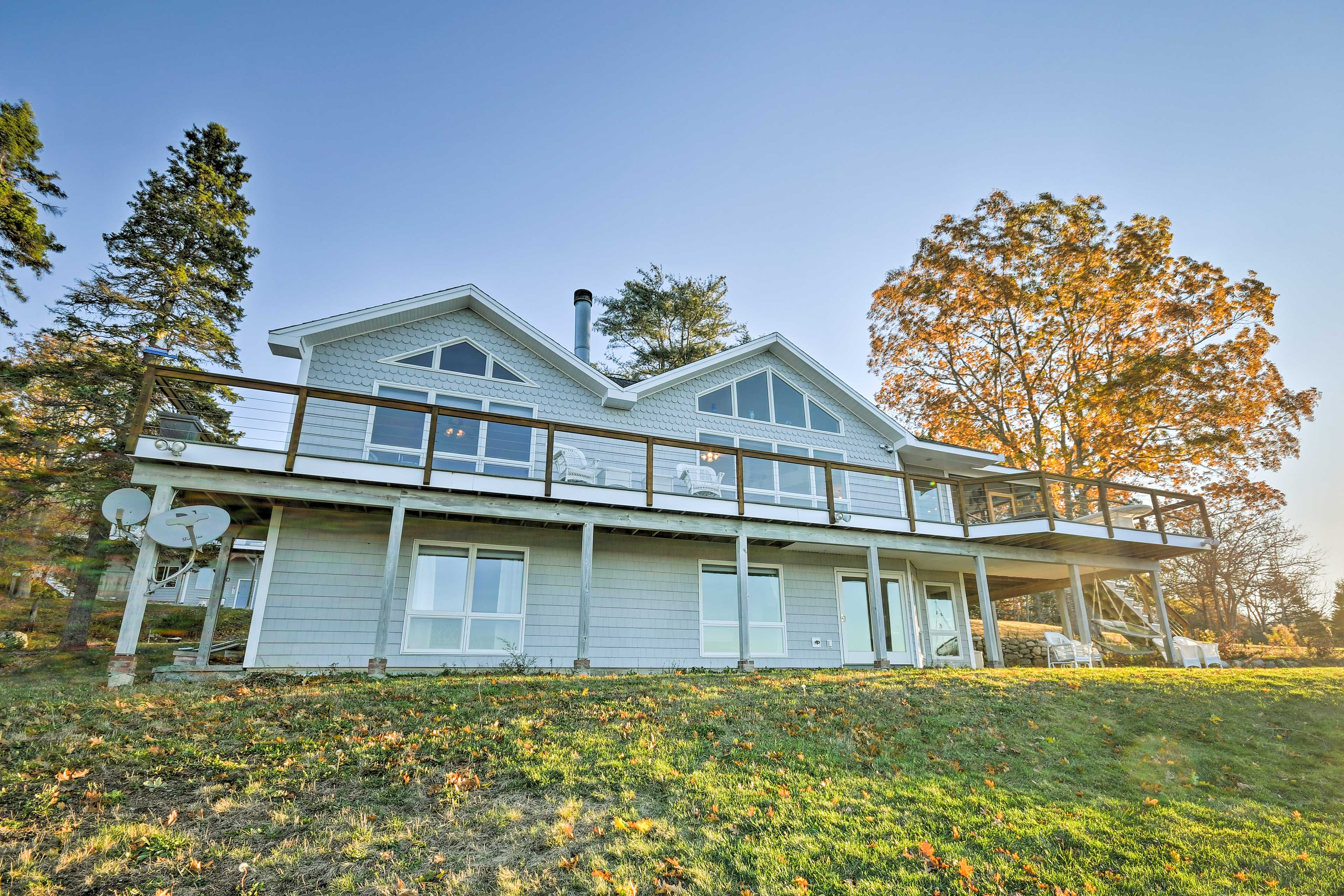 Enjoy the oceanfront wraparound deck, outdoor fire pit and patio!
