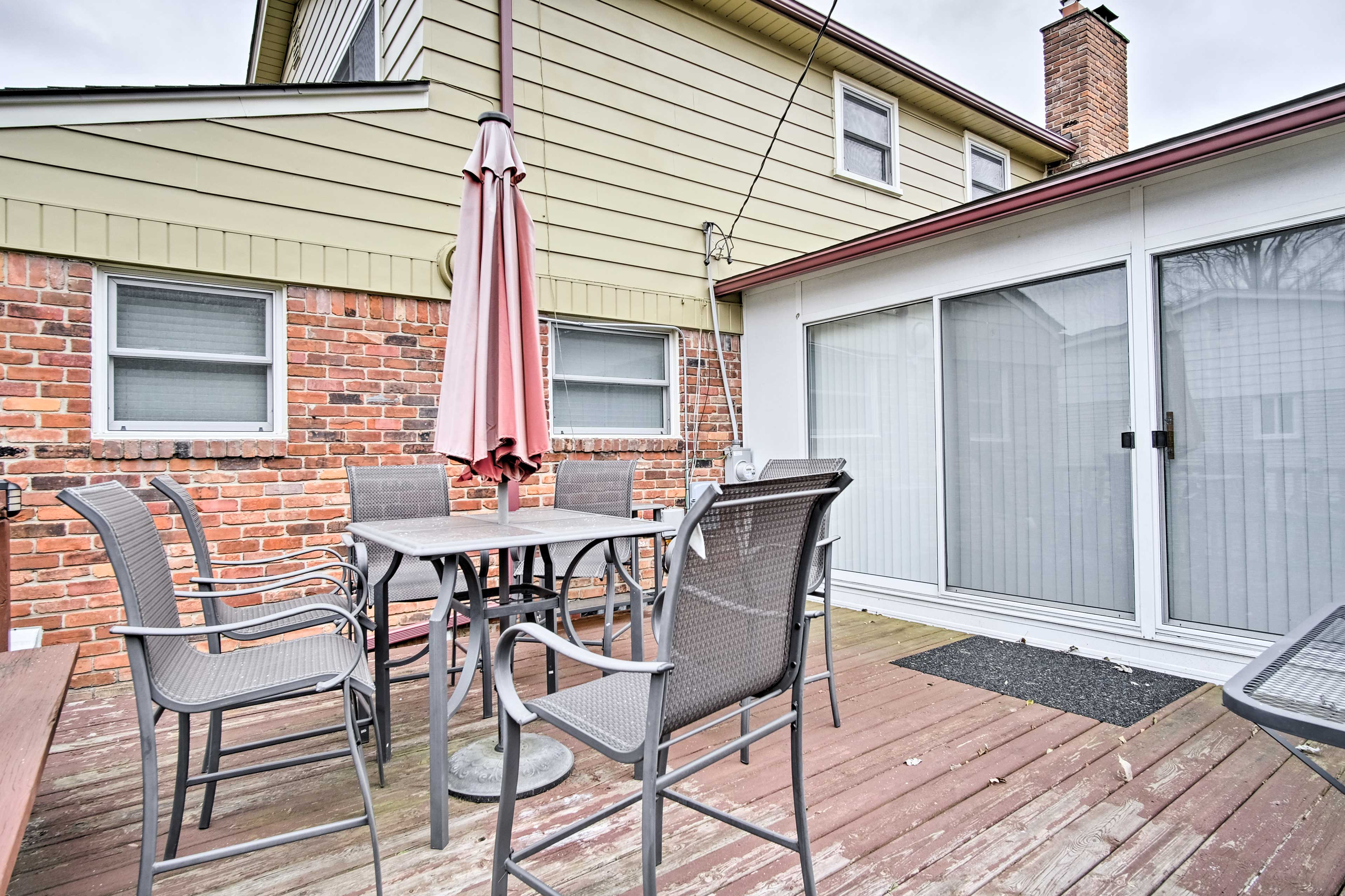 Head out back to relax on the deck.