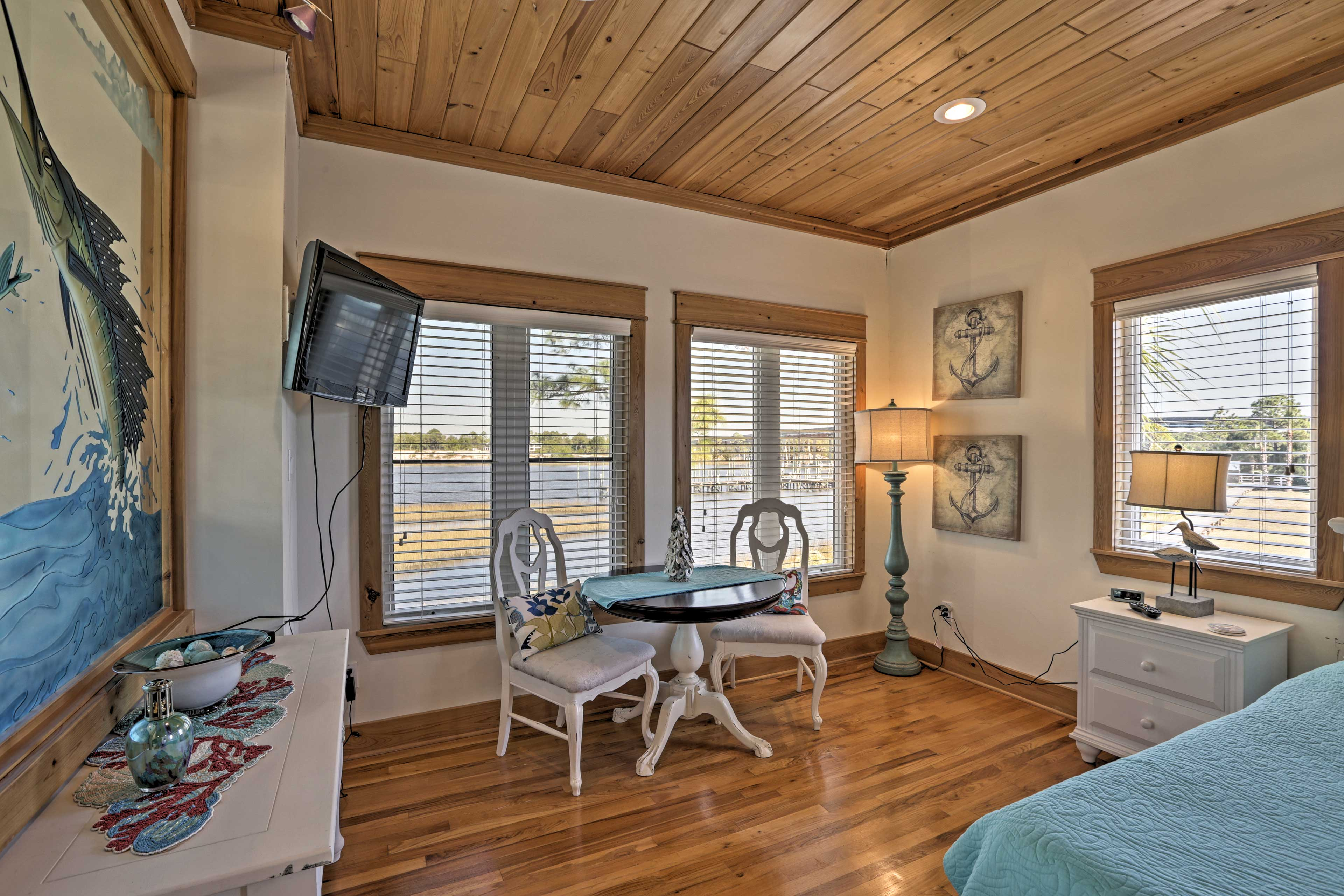 Curl up in the king-sized bed for a good night's sleep and enjoy your morning coffee in this quaint sitting area.