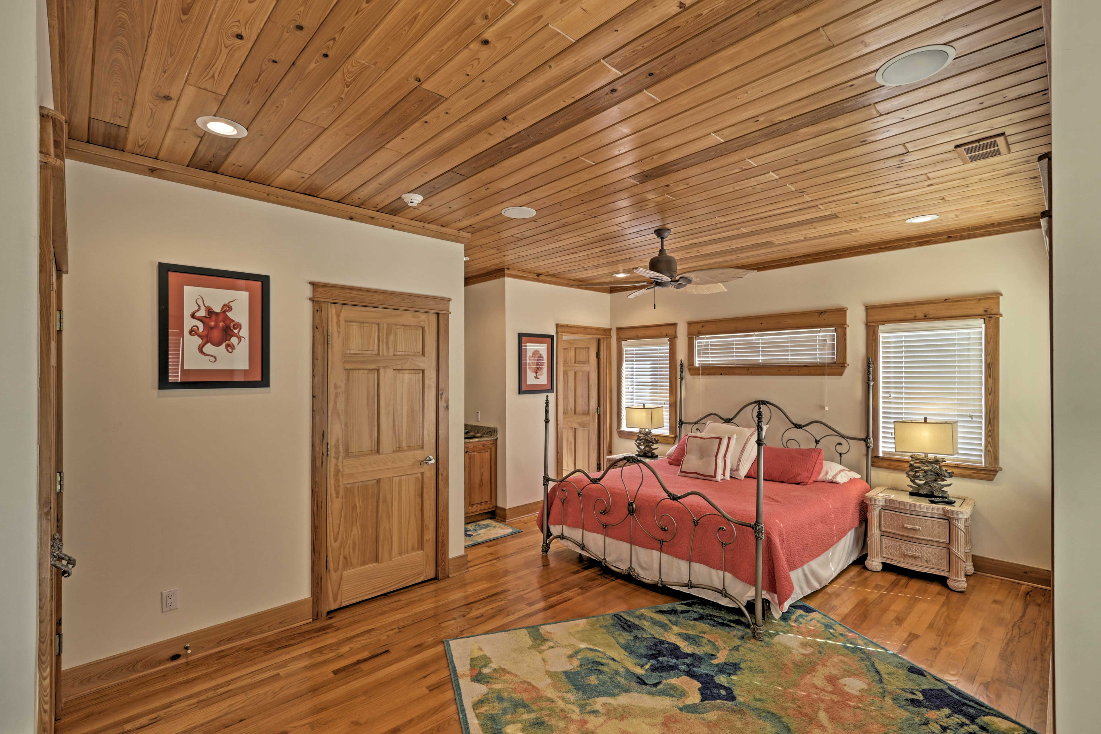 Two lucky guests can claim this second master bedroom as their own.