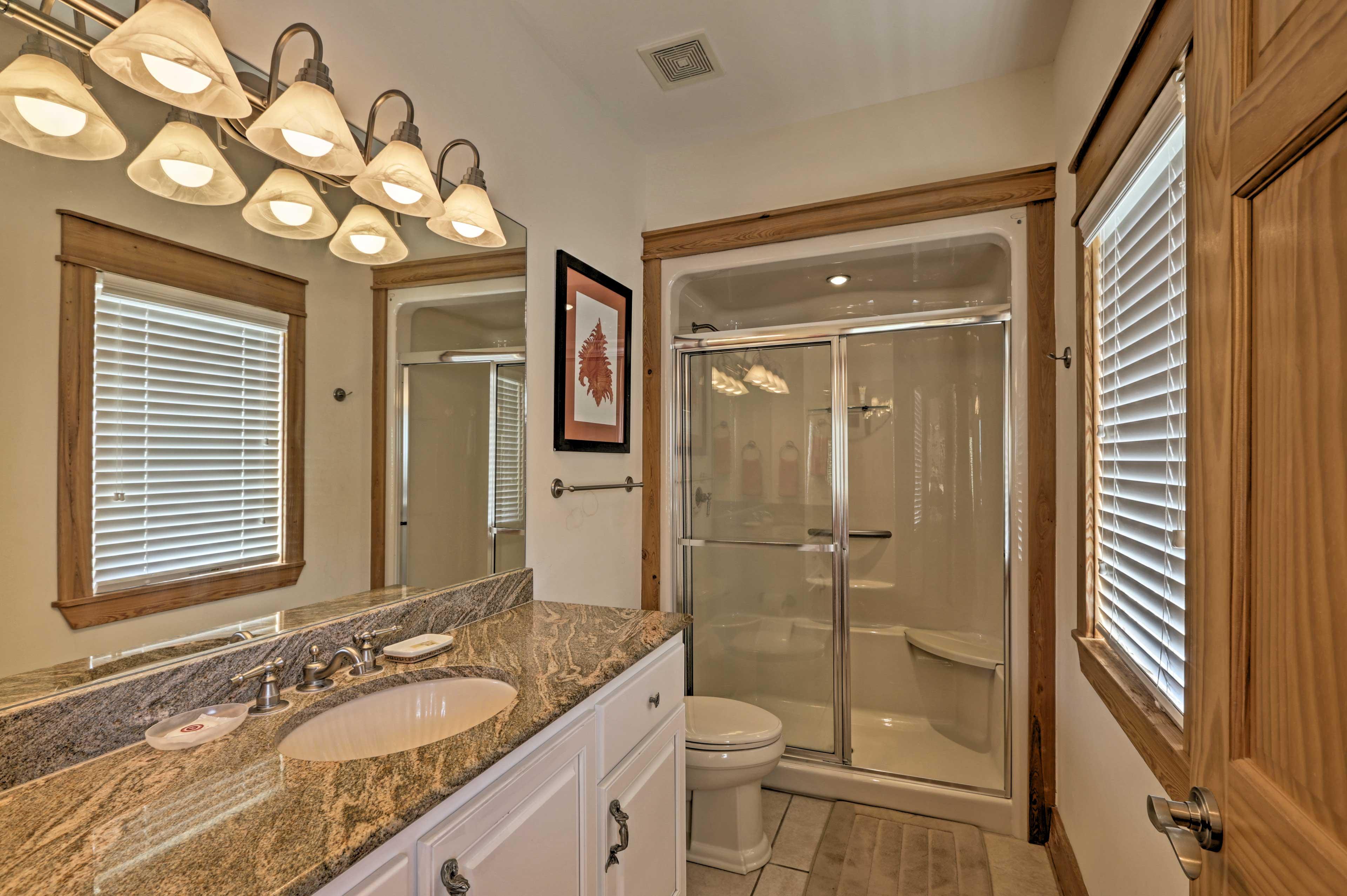 With a spacious walk-in shower, the second bedroom's en-suite bathroom is handicap accessible.