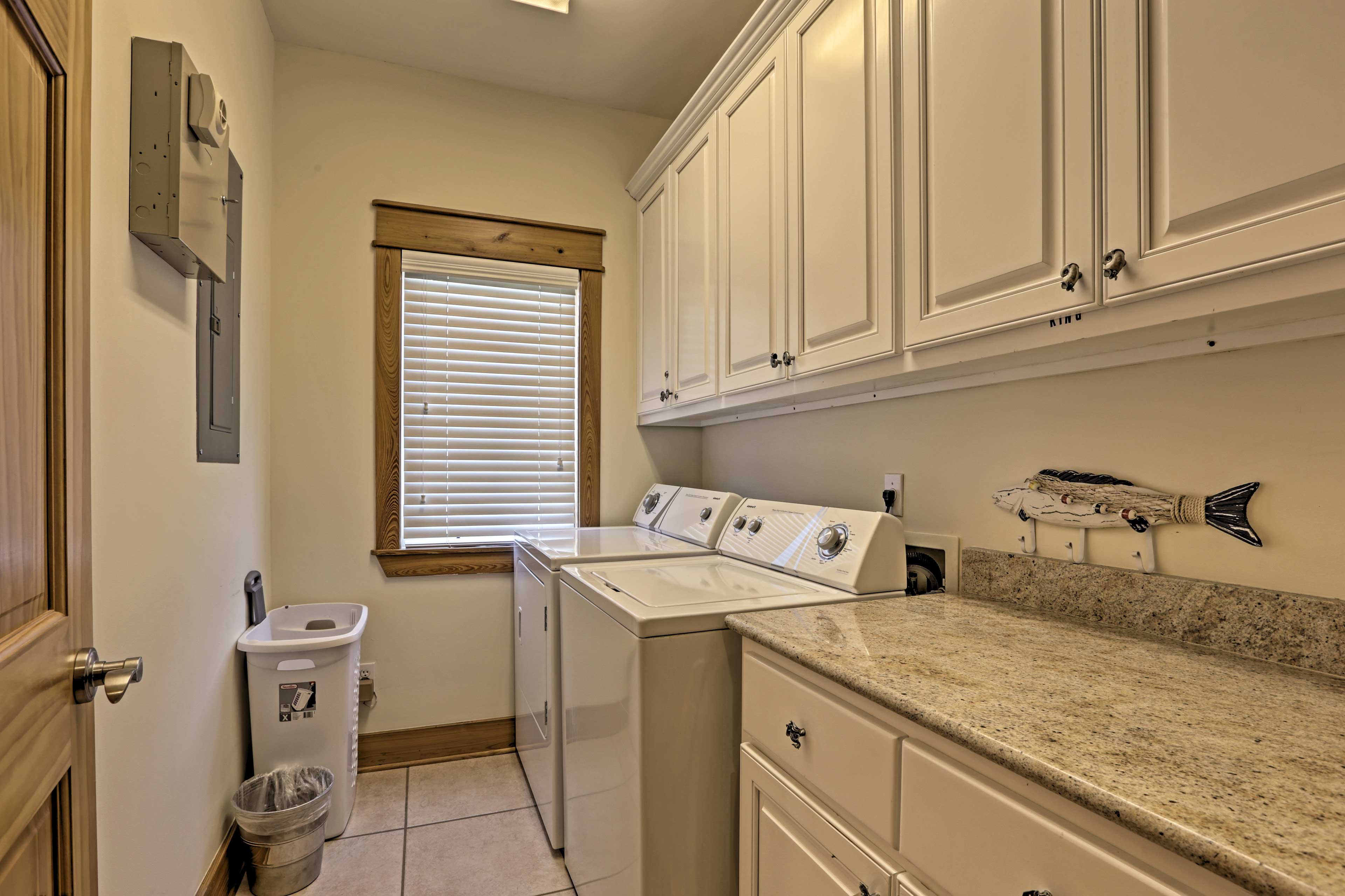 Keep your clothes and beach towels fresh using the washer and dryer.