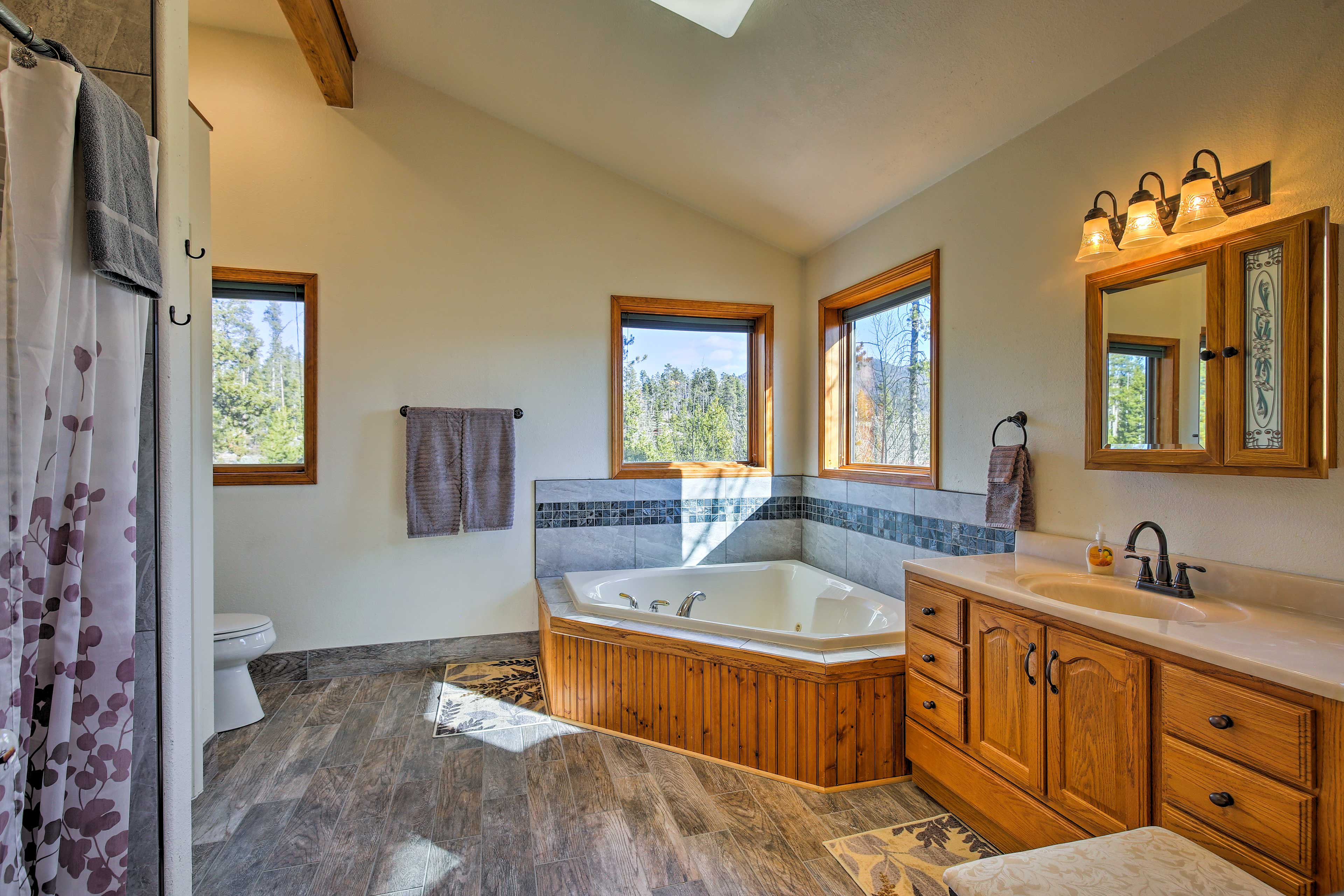 Treat yourself to a long soak in the Jacuzzi tub!