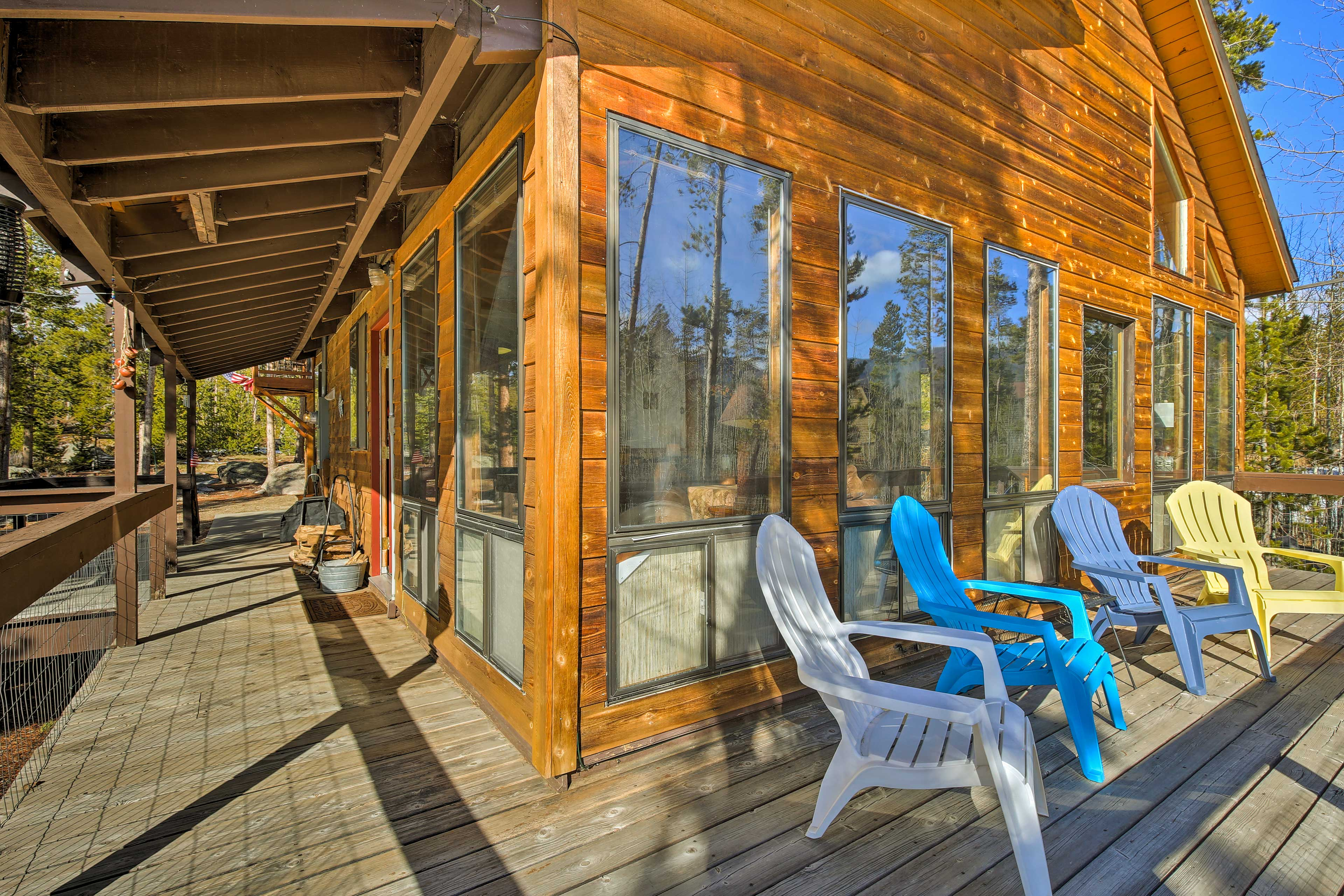 The wrap-around porch is the perfect place to watch for wildlife.