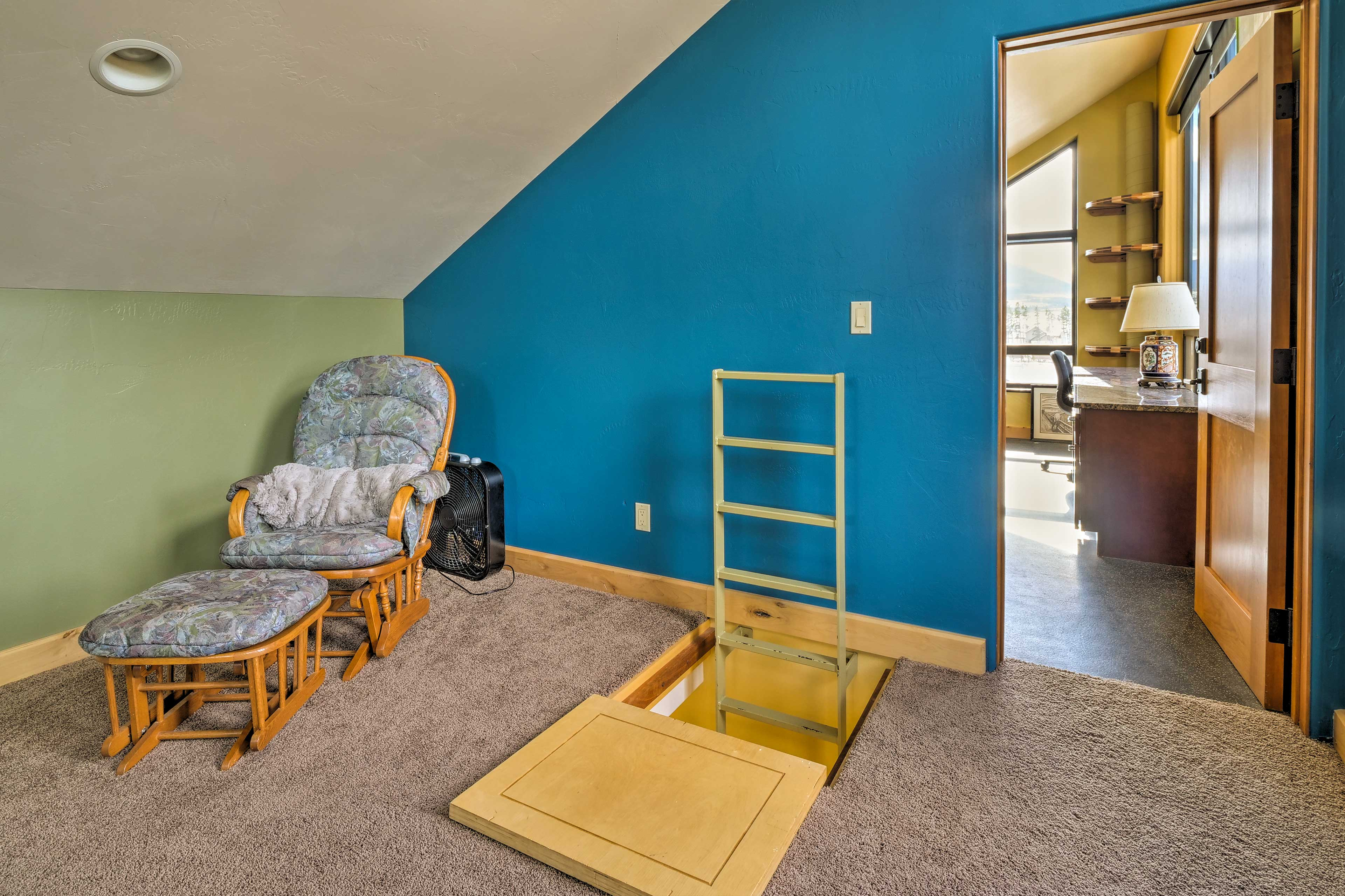 Climb the ladder through the trapdoor into the bunk house bedroom!