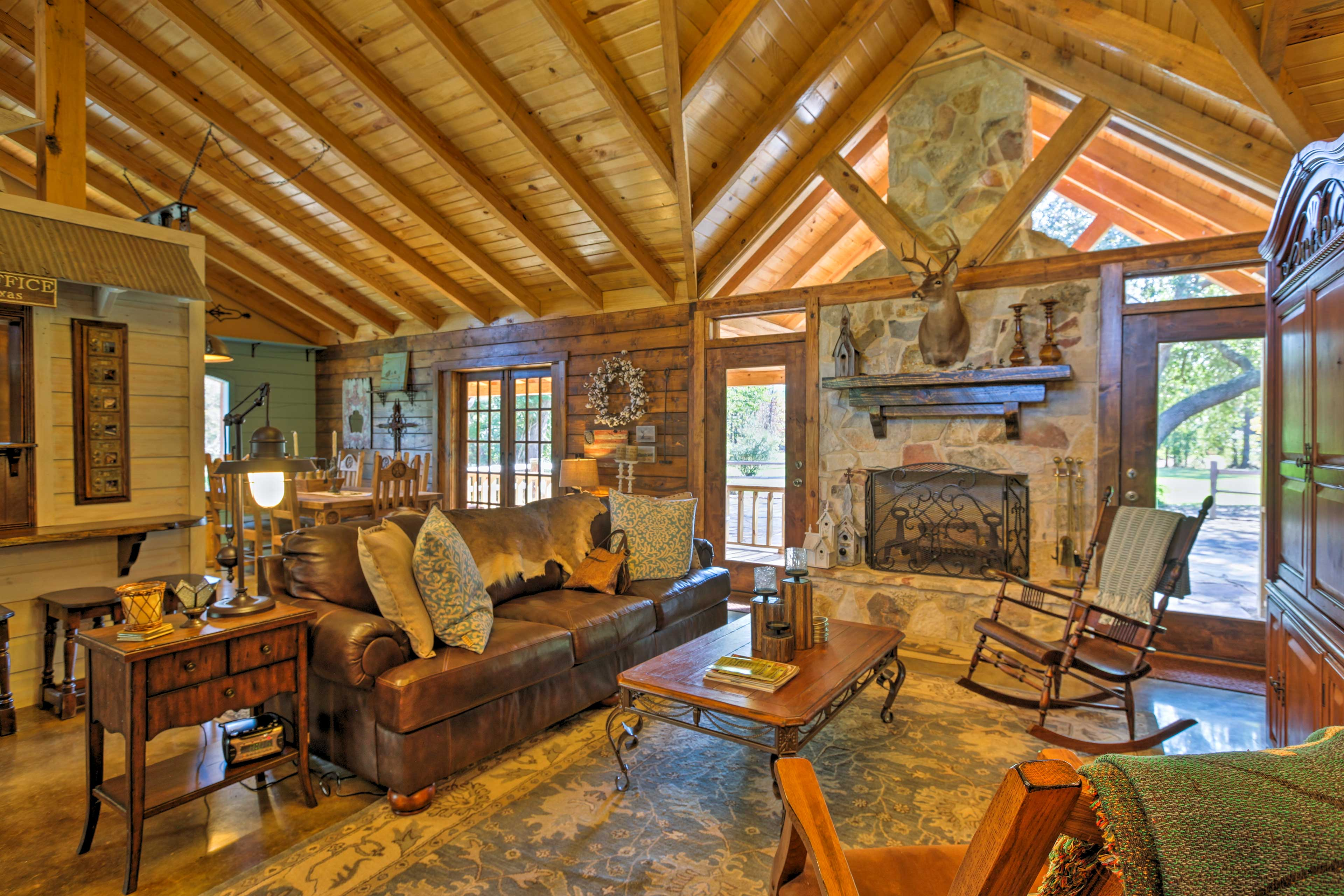 The vaulted ceilings and rustic decor create a warm and peaceful ambiance.