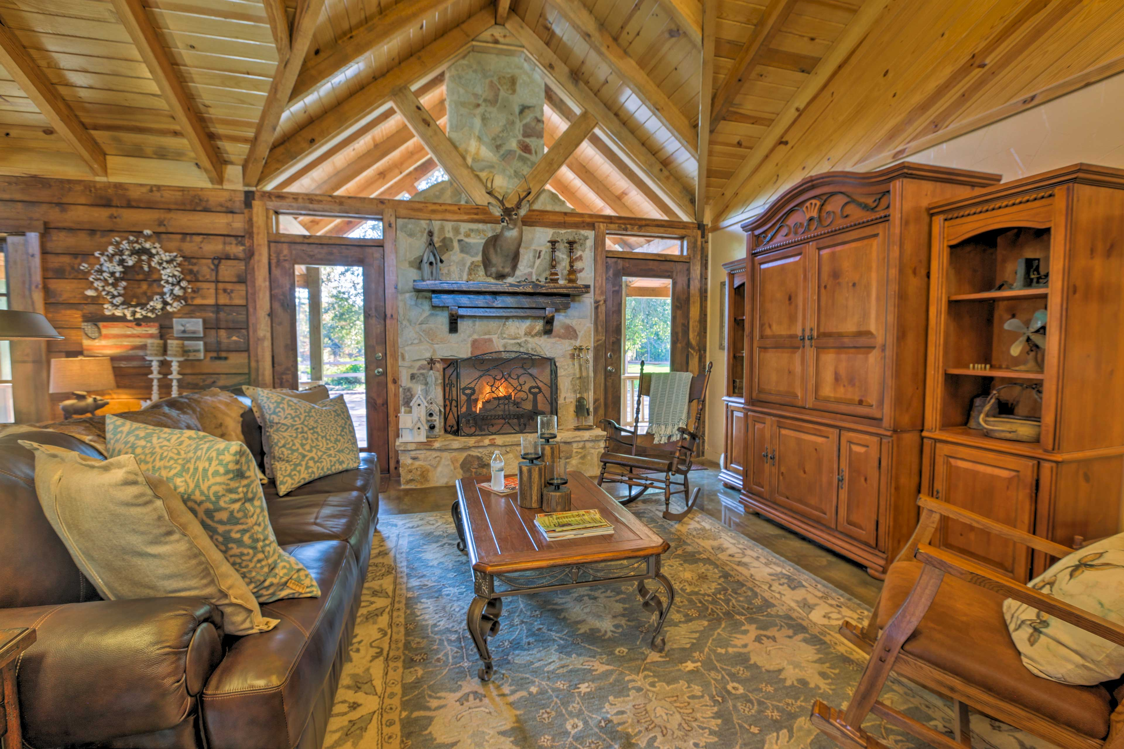 Cozy around the wood-burning fireplace and recount tales from the day!