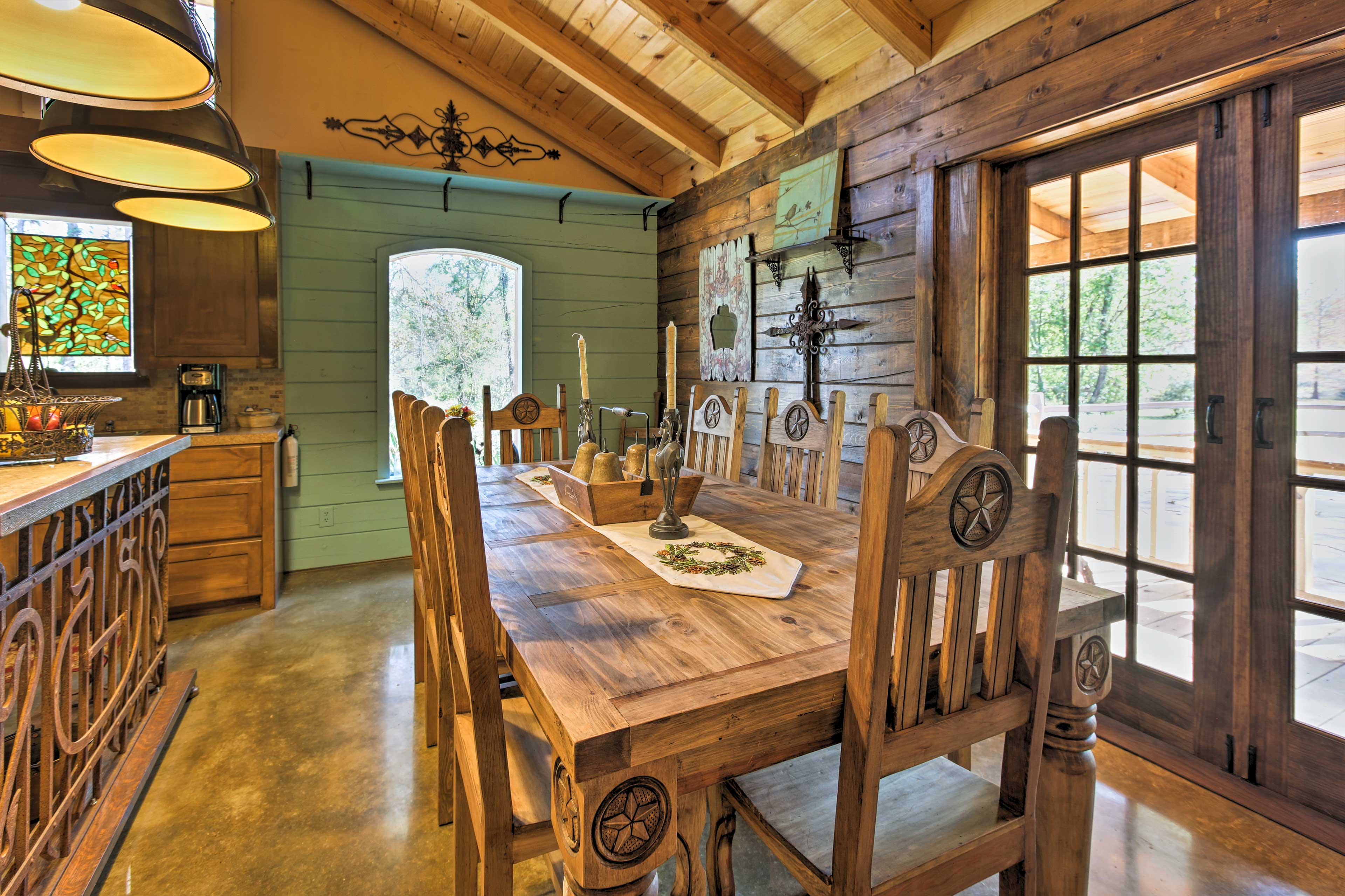 Share delicious home-cooked meals on the rustic dining room table.