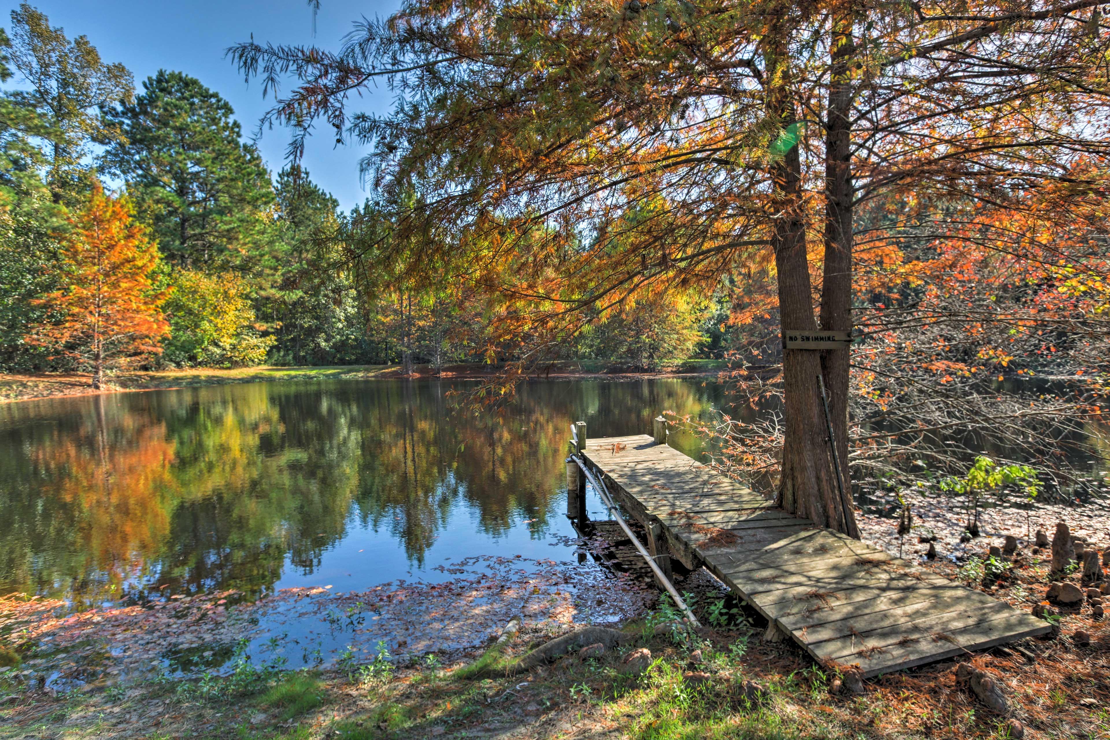 Spend your days fishing around this pristine pond.