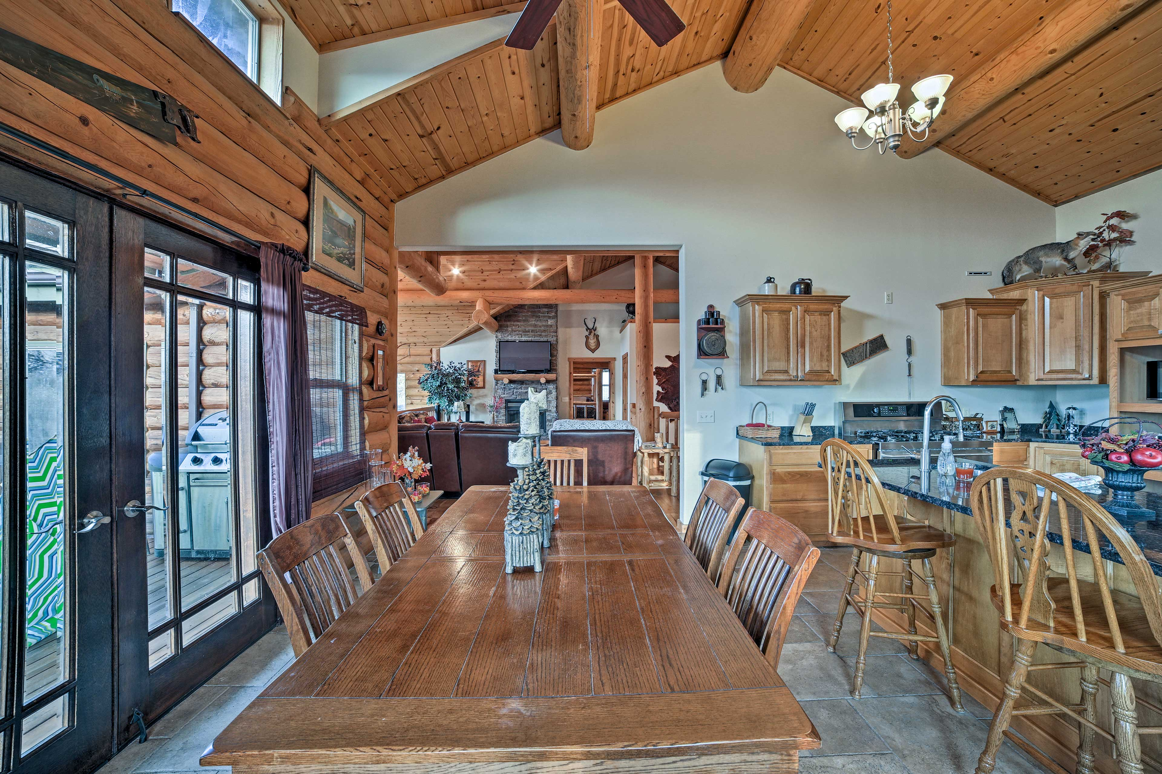 The fully equipped kitchen offers plenty of seating.