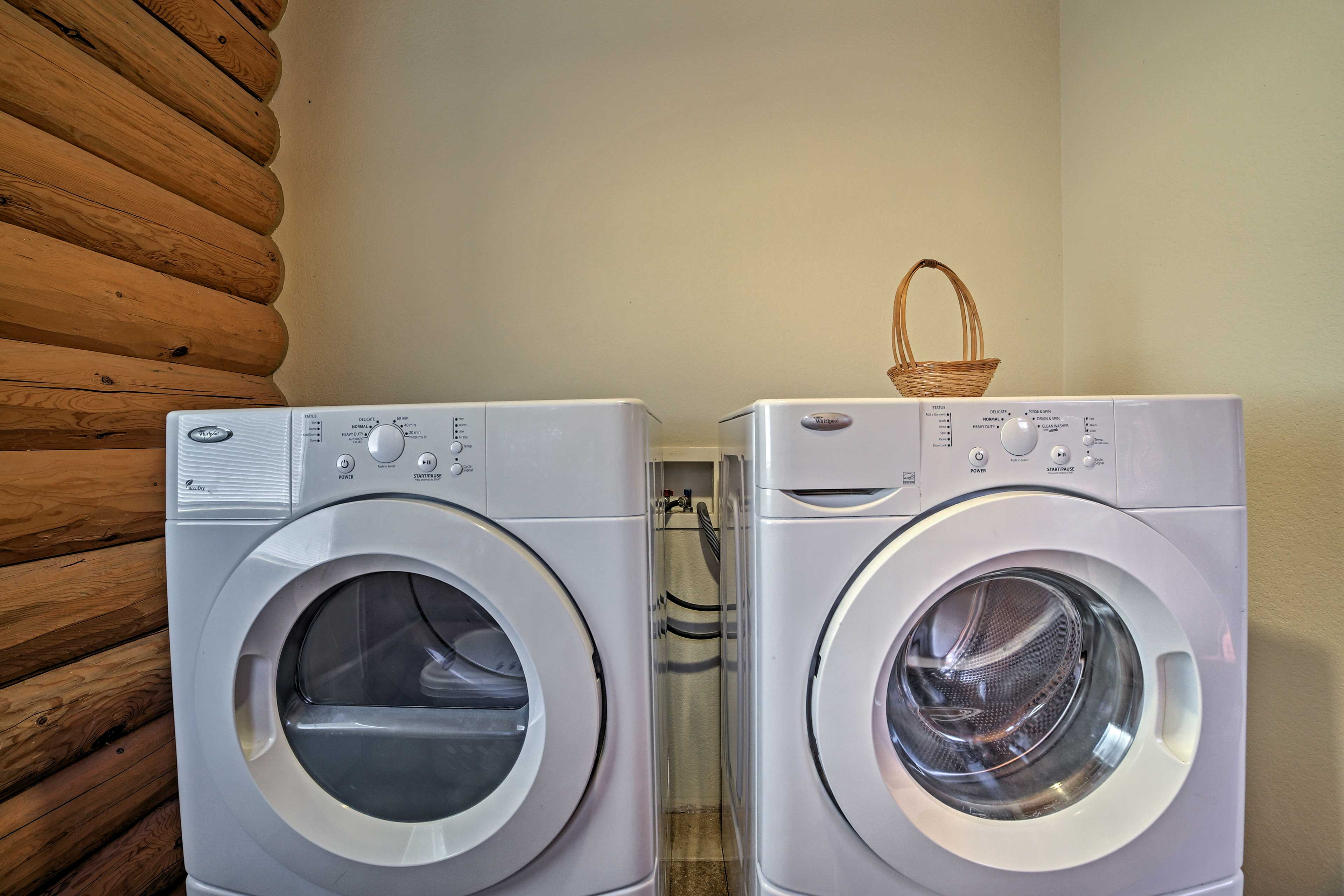 A washer and dryer are included for your added comfort.