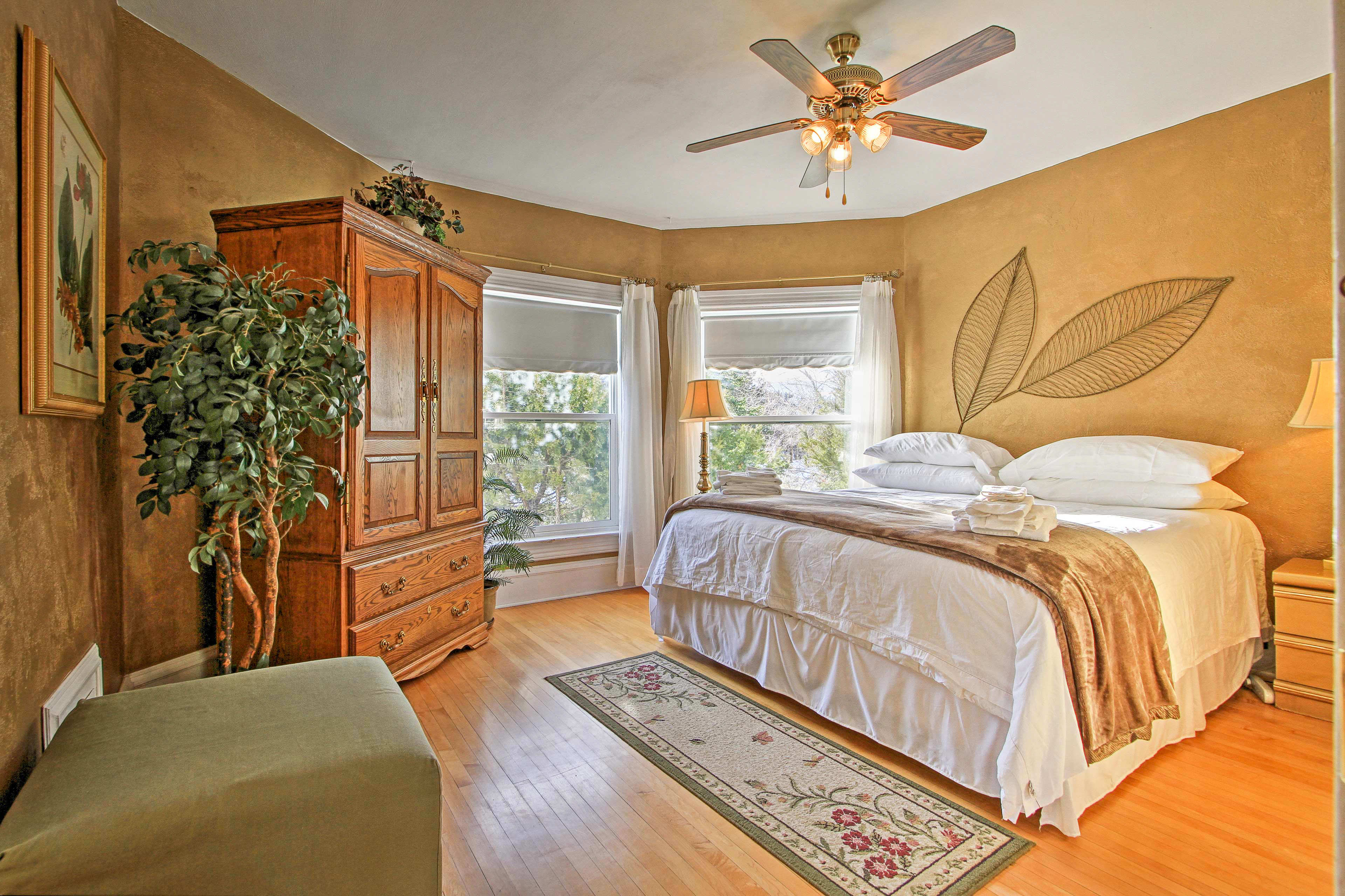 All of the bedrooms feature custom interiors and large windows.