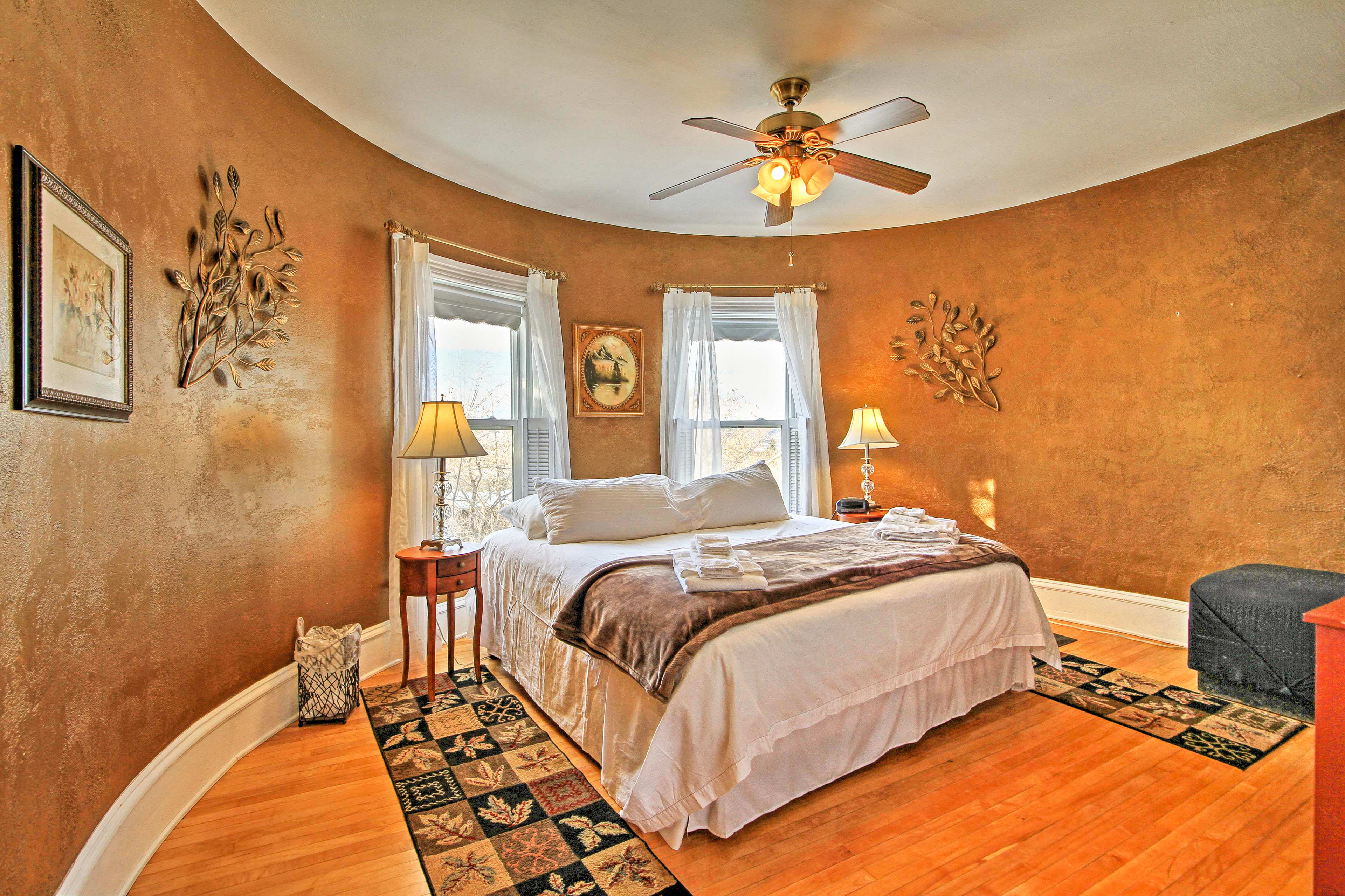 The Round Room boasts a unique layout and cozy king bed perfect for couples.