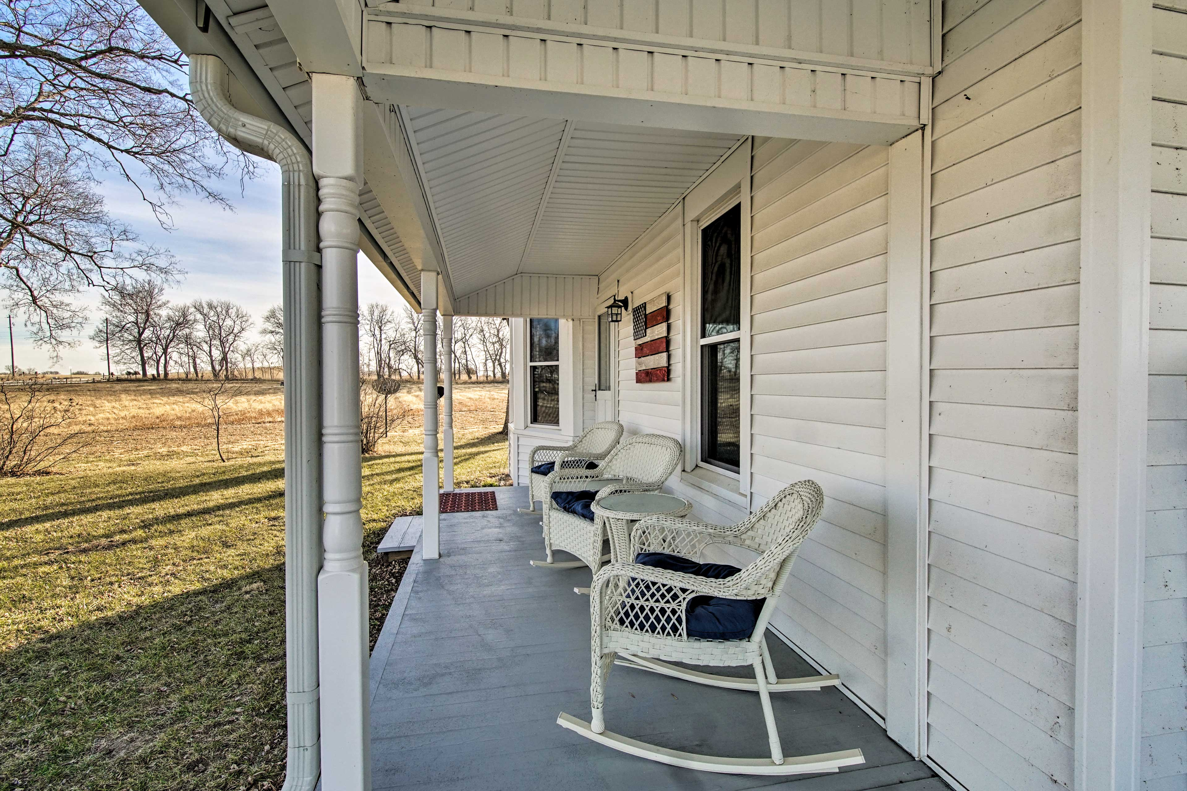 Explore the property to enjoy the serene pasture land.