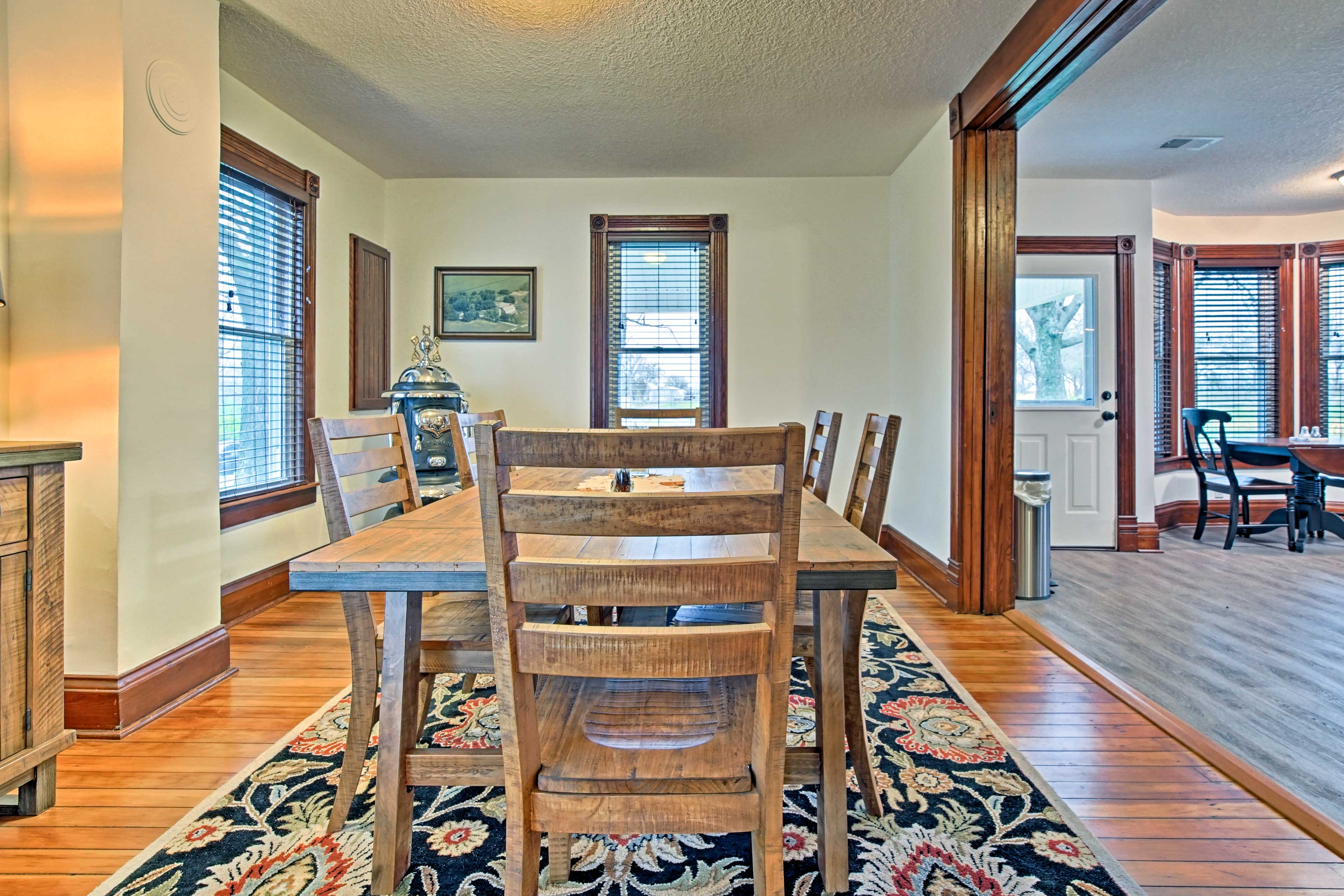 Savor homemade meals around this 6-person dining table.