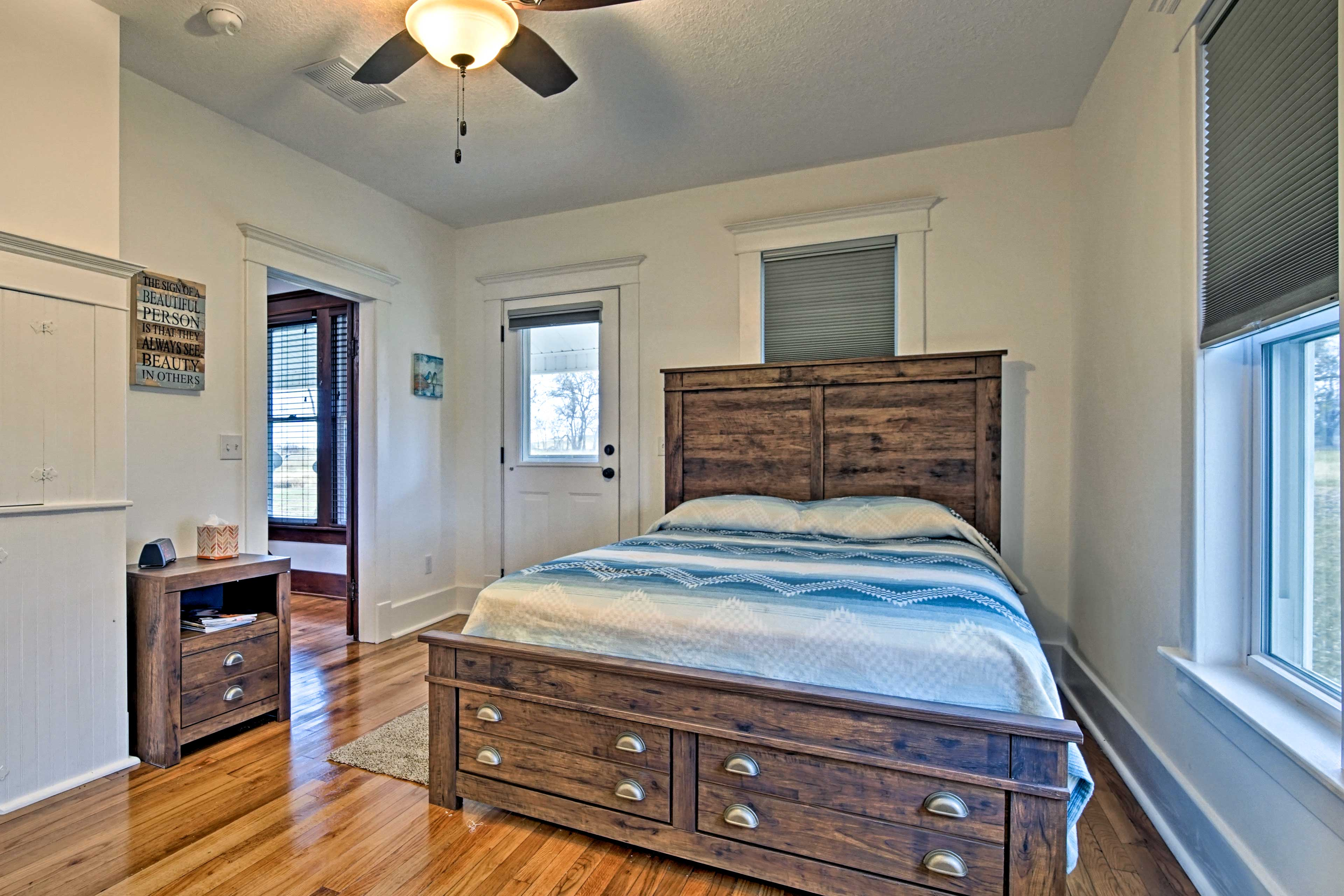 Additional guests will sleep soundly in the second bedroom.