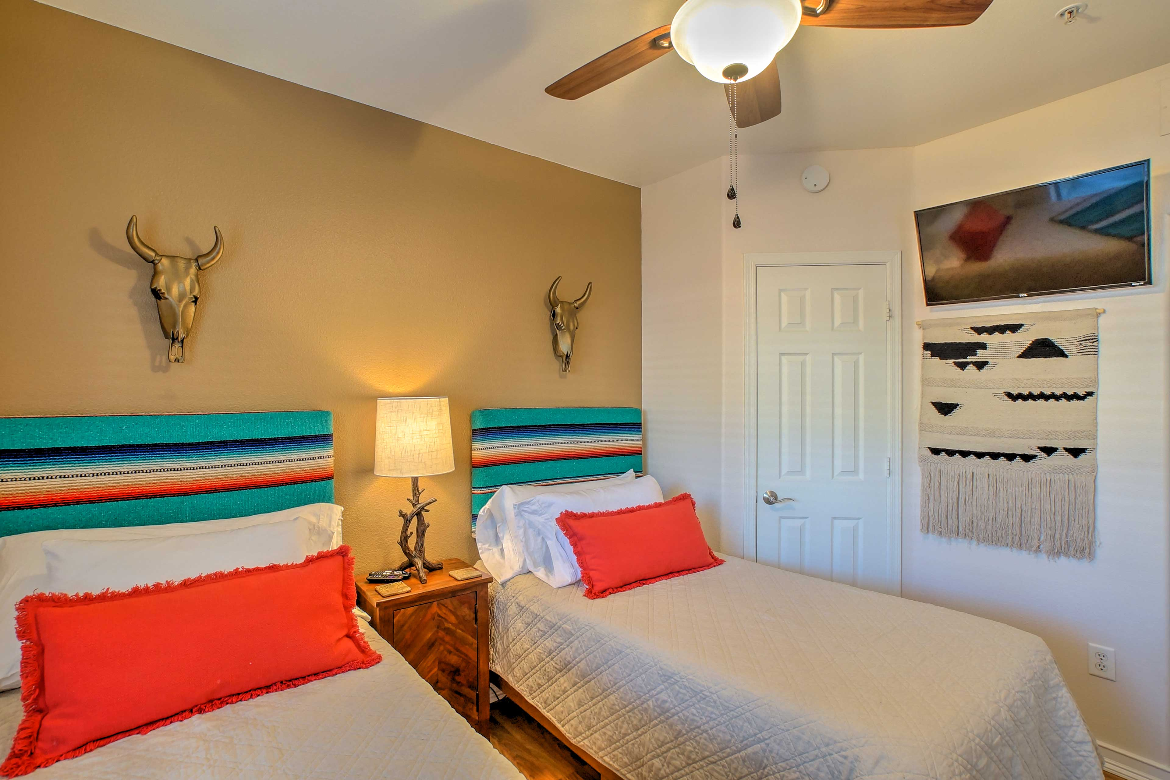 Snuggle up in the 2 twin beds.