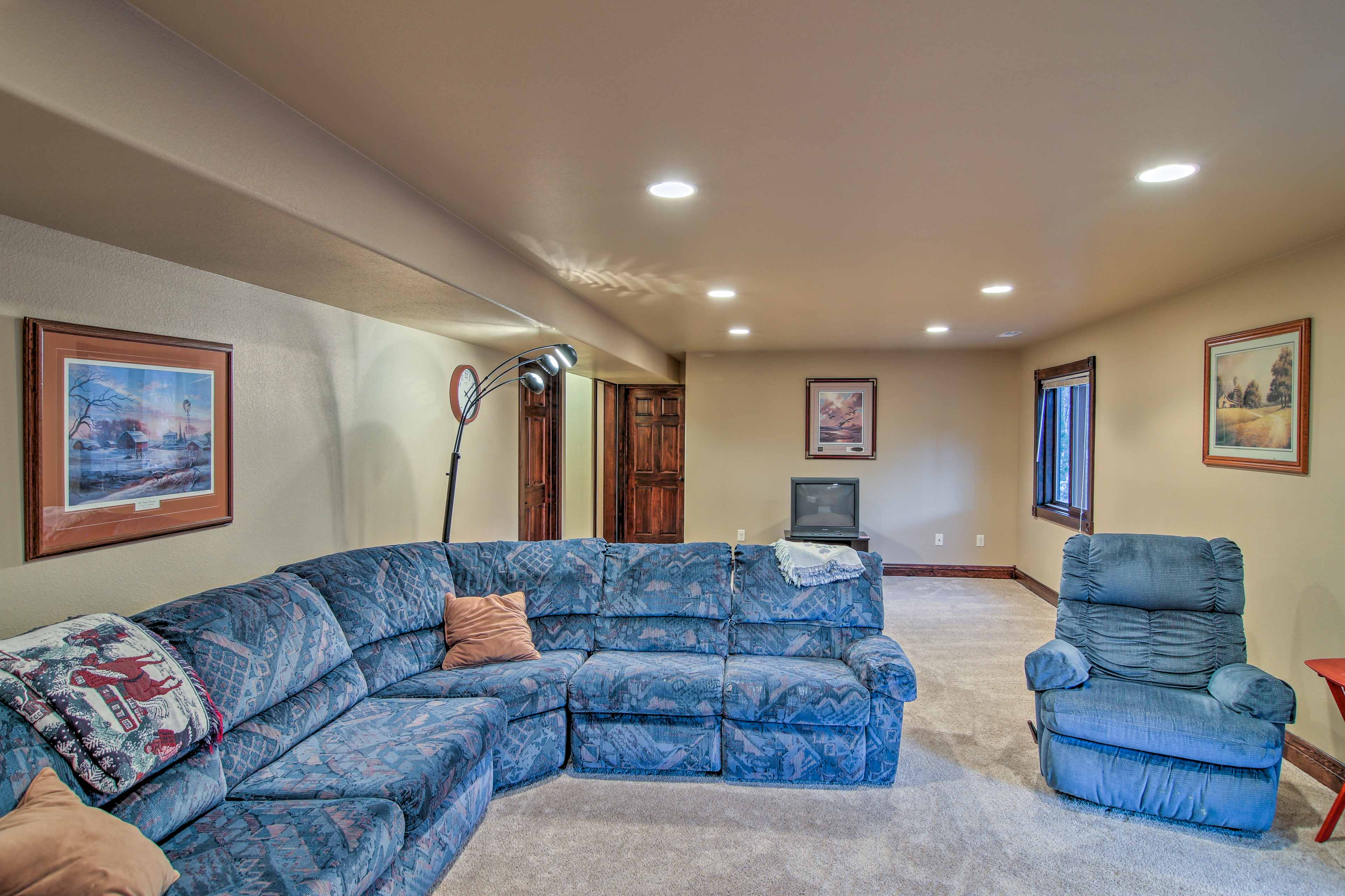 A sleeper sofa, as well as 3 air mattresses, are available to use in the game room