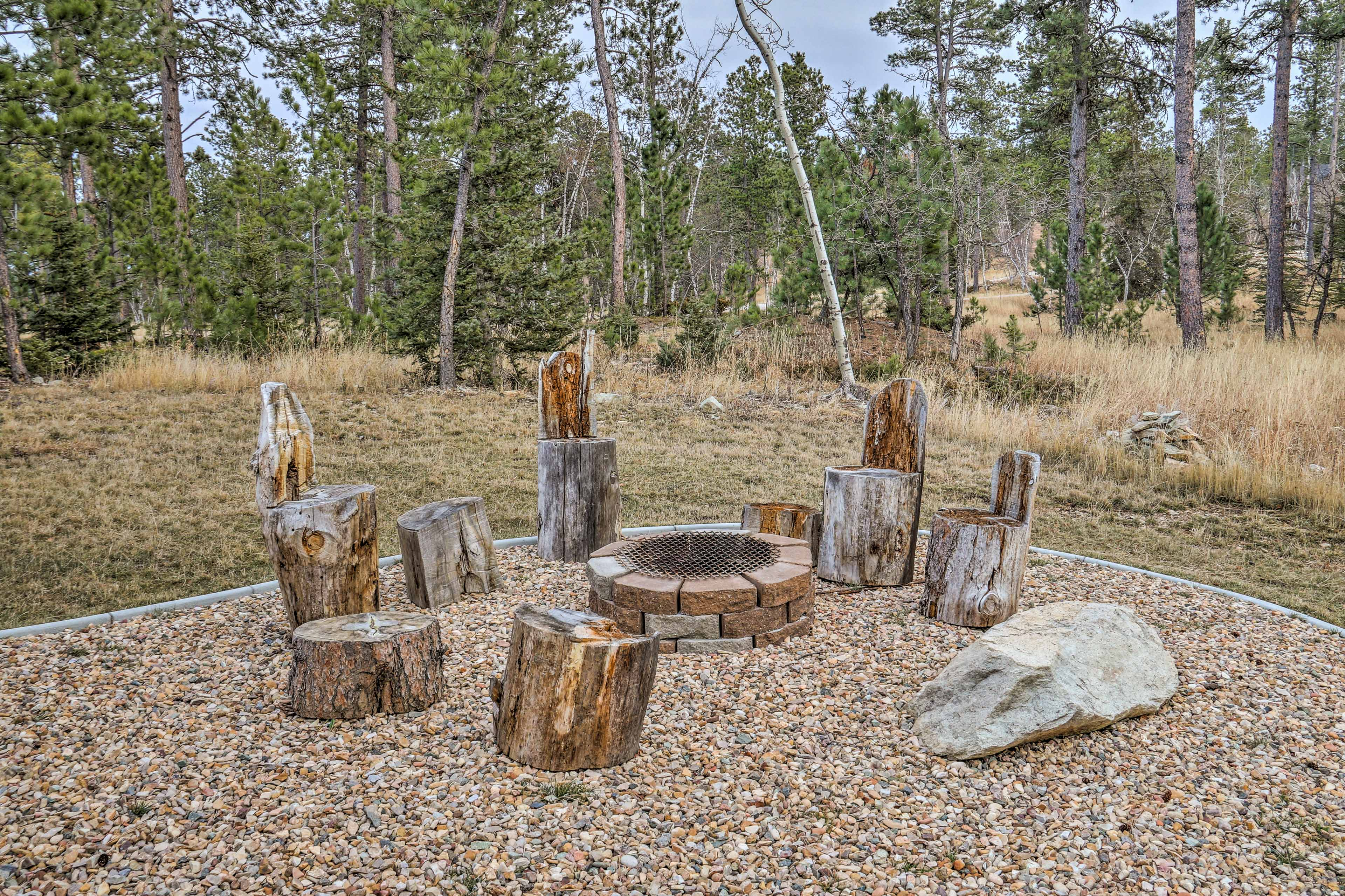 Stay warm around the wood-burning fire pit as you enjoy the great outdoors.
