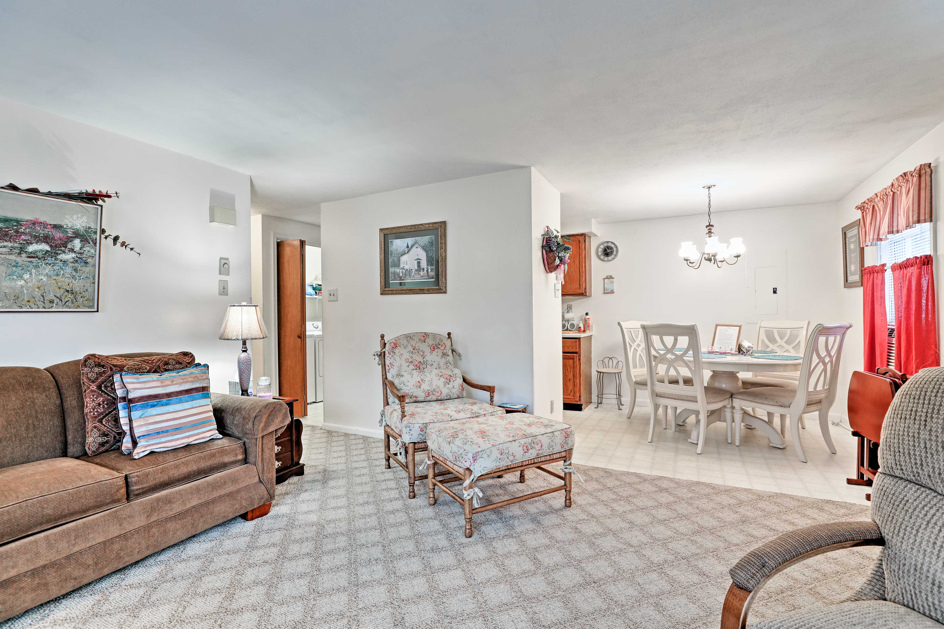 The home pairs traditional decor with updated amenities for the ultimate stay!