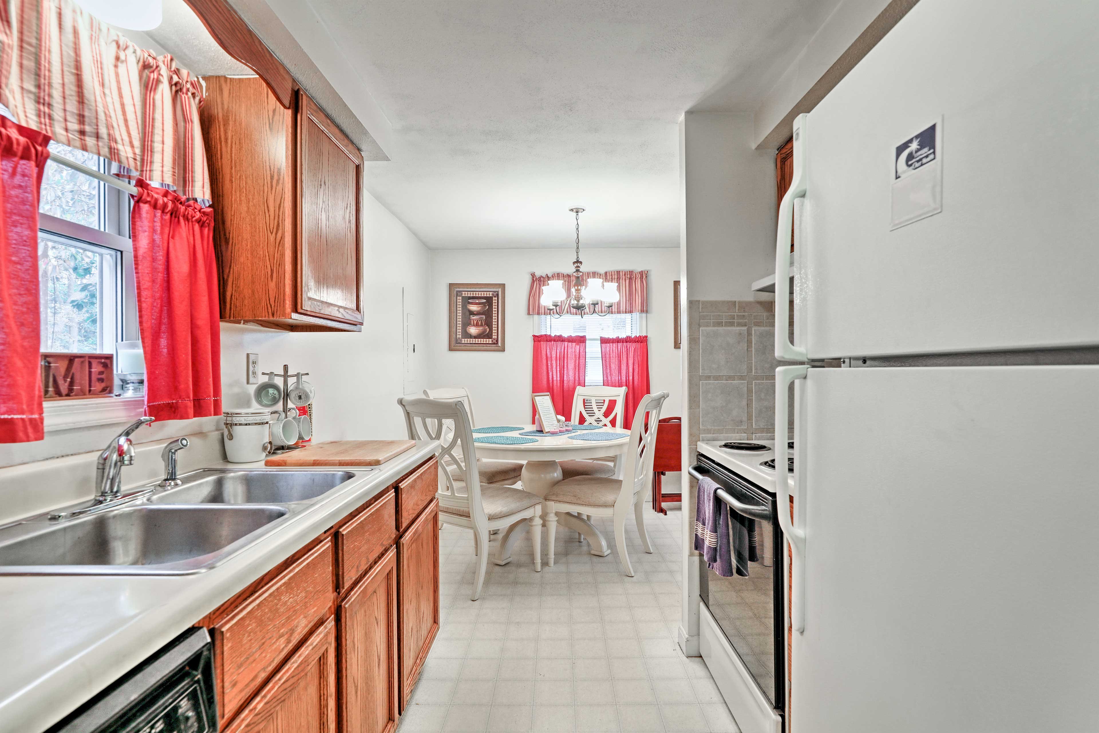 Head into the fully equipped kitchen!