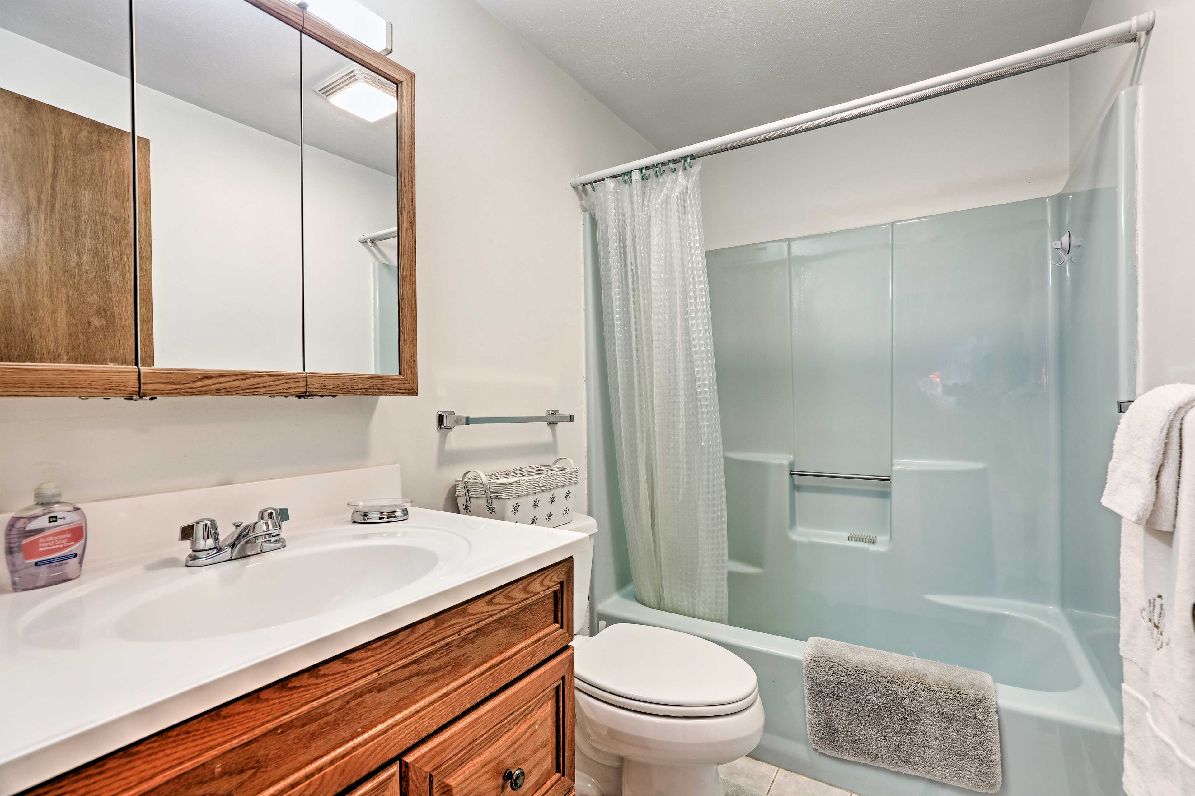 The full bathroom features a single vanity and shower/tub combo.
