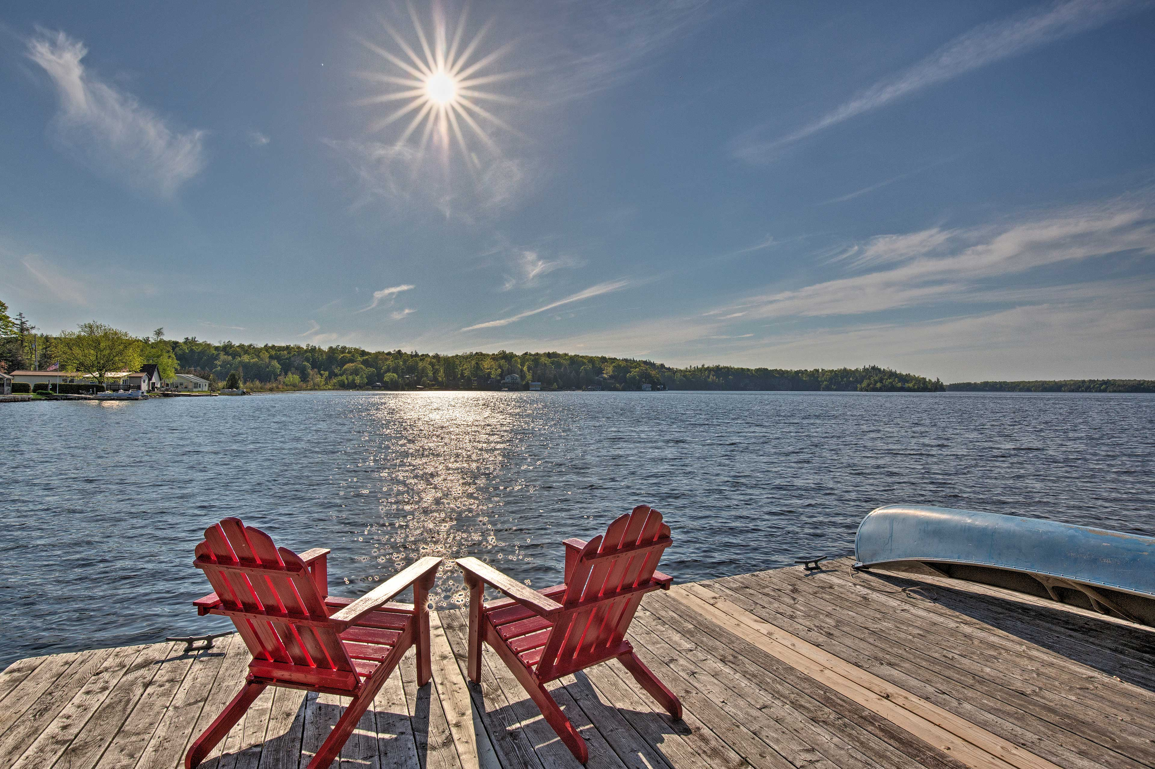 The private dock is ideal for parking your boat, swimming, and fishing.