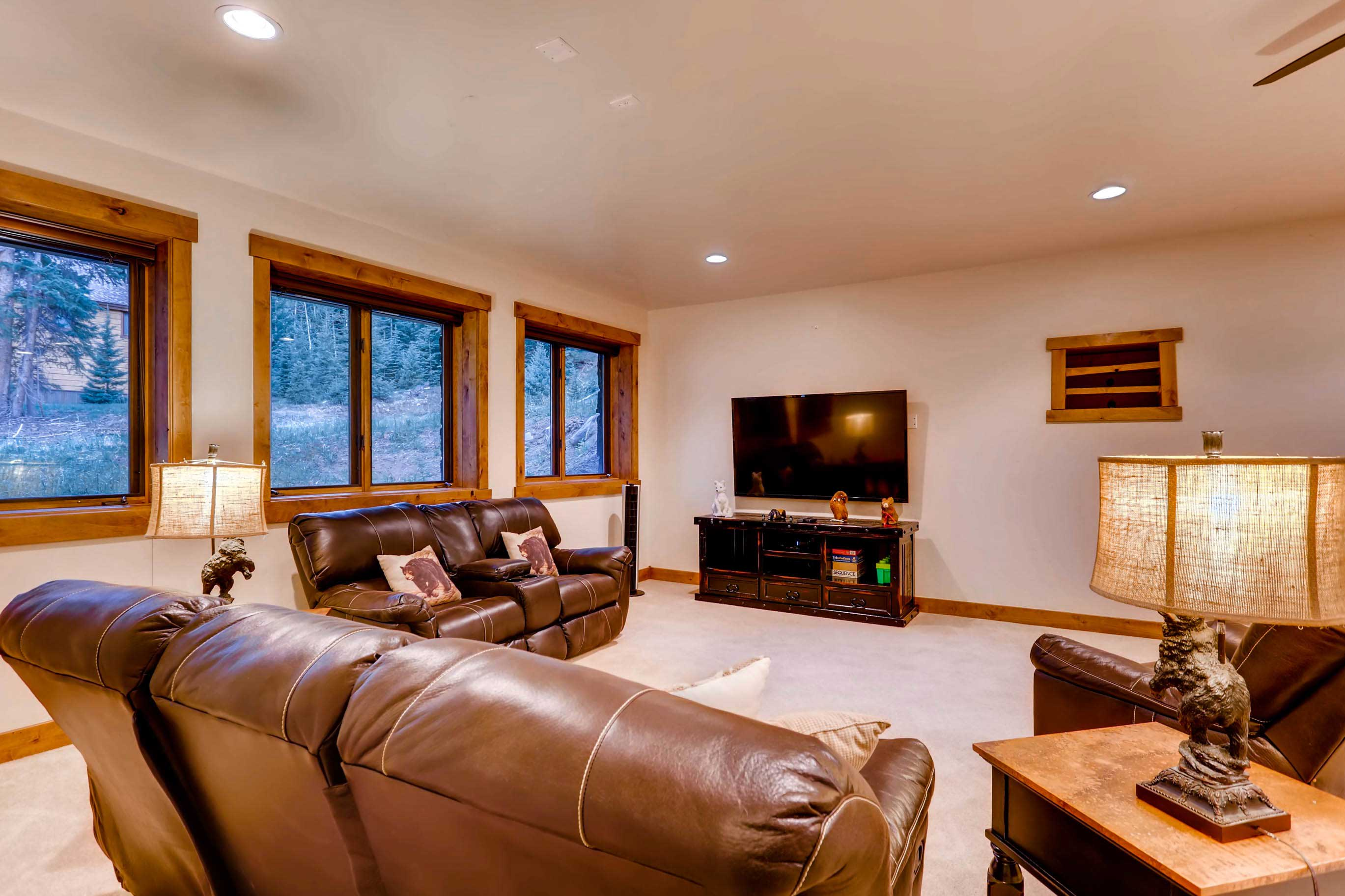 The basement offers another cozy living area.