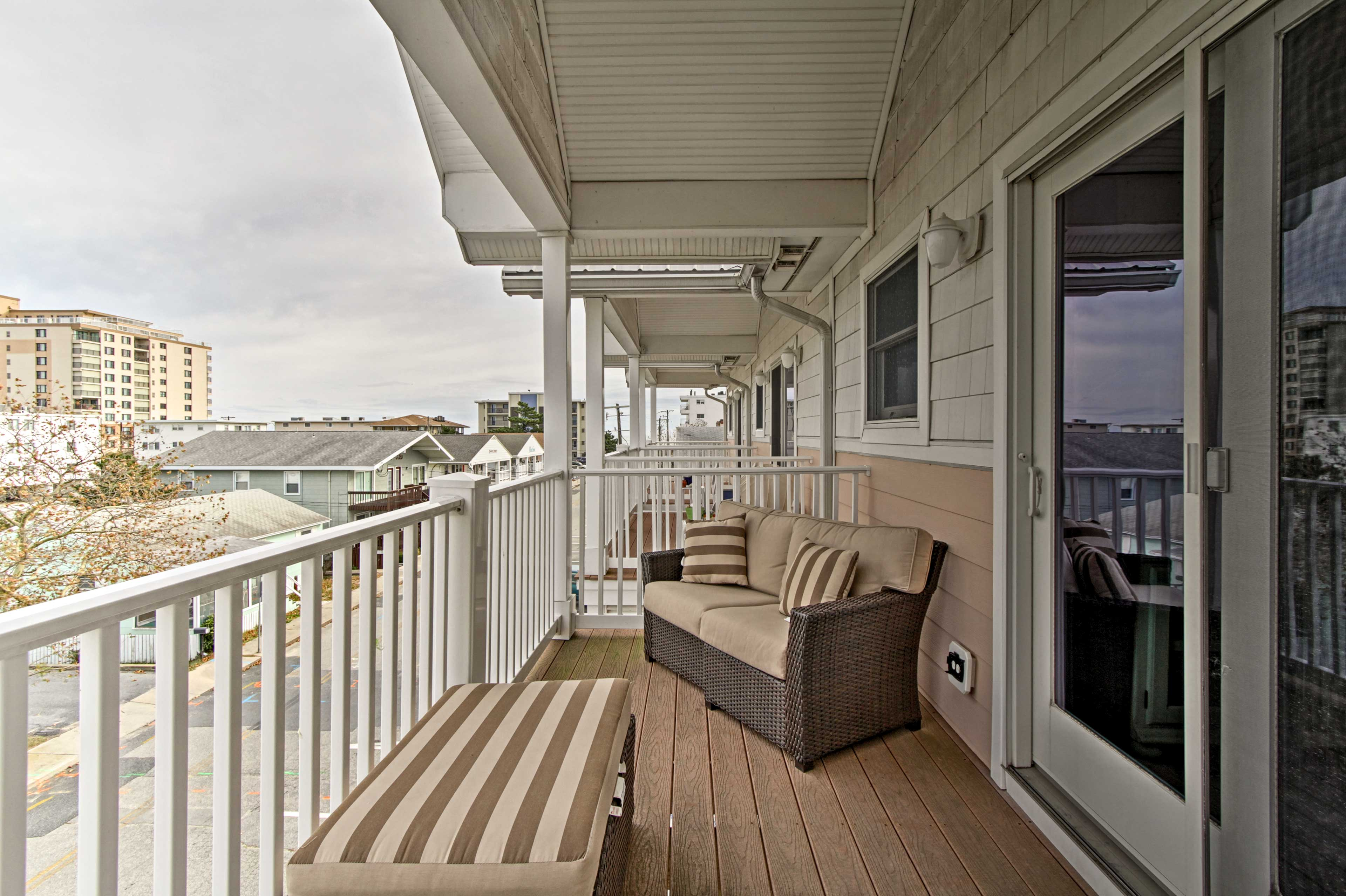 Three private balconies provide plenty of outdoor space.