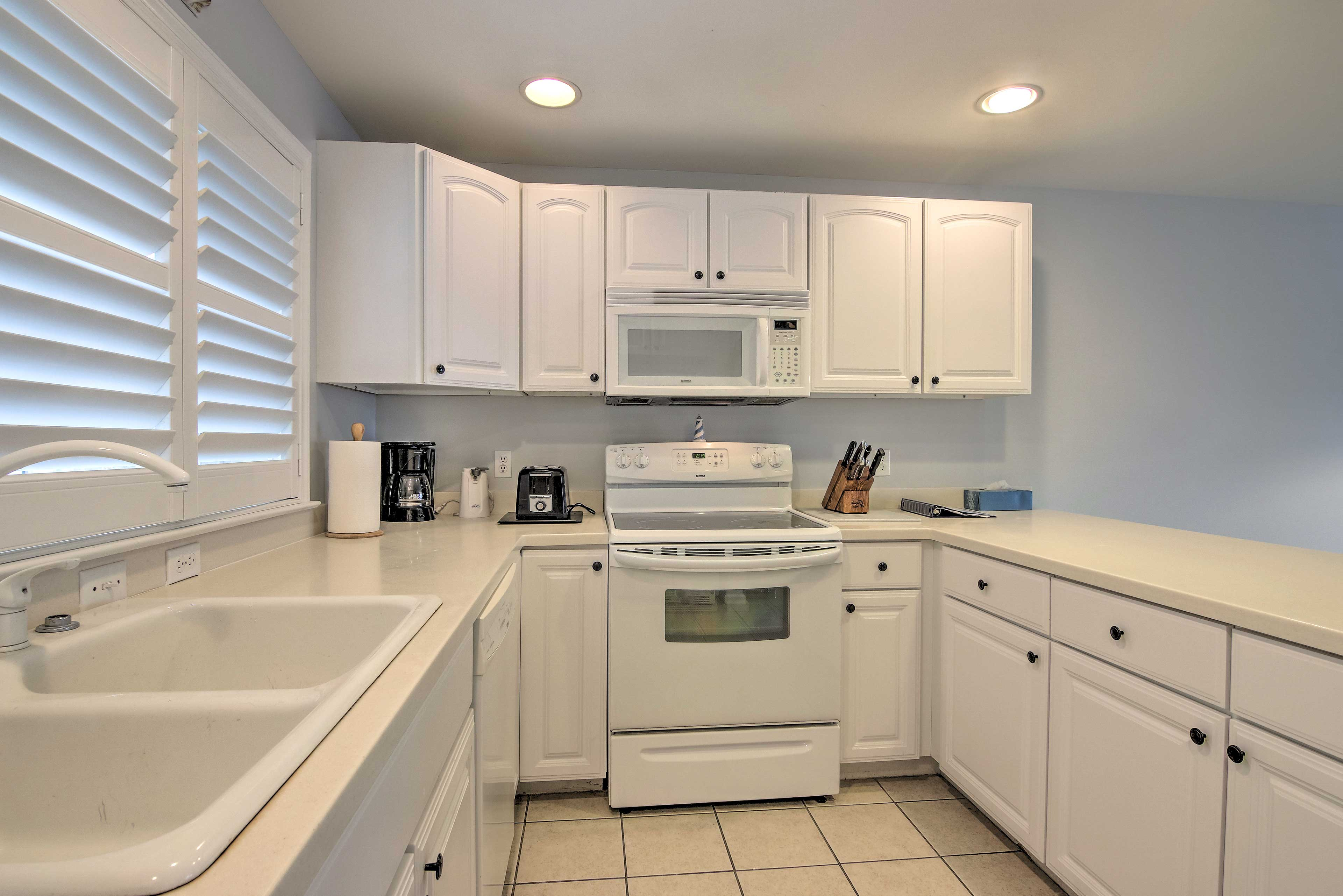 The kitchen comes fully equipped with everything you need.
