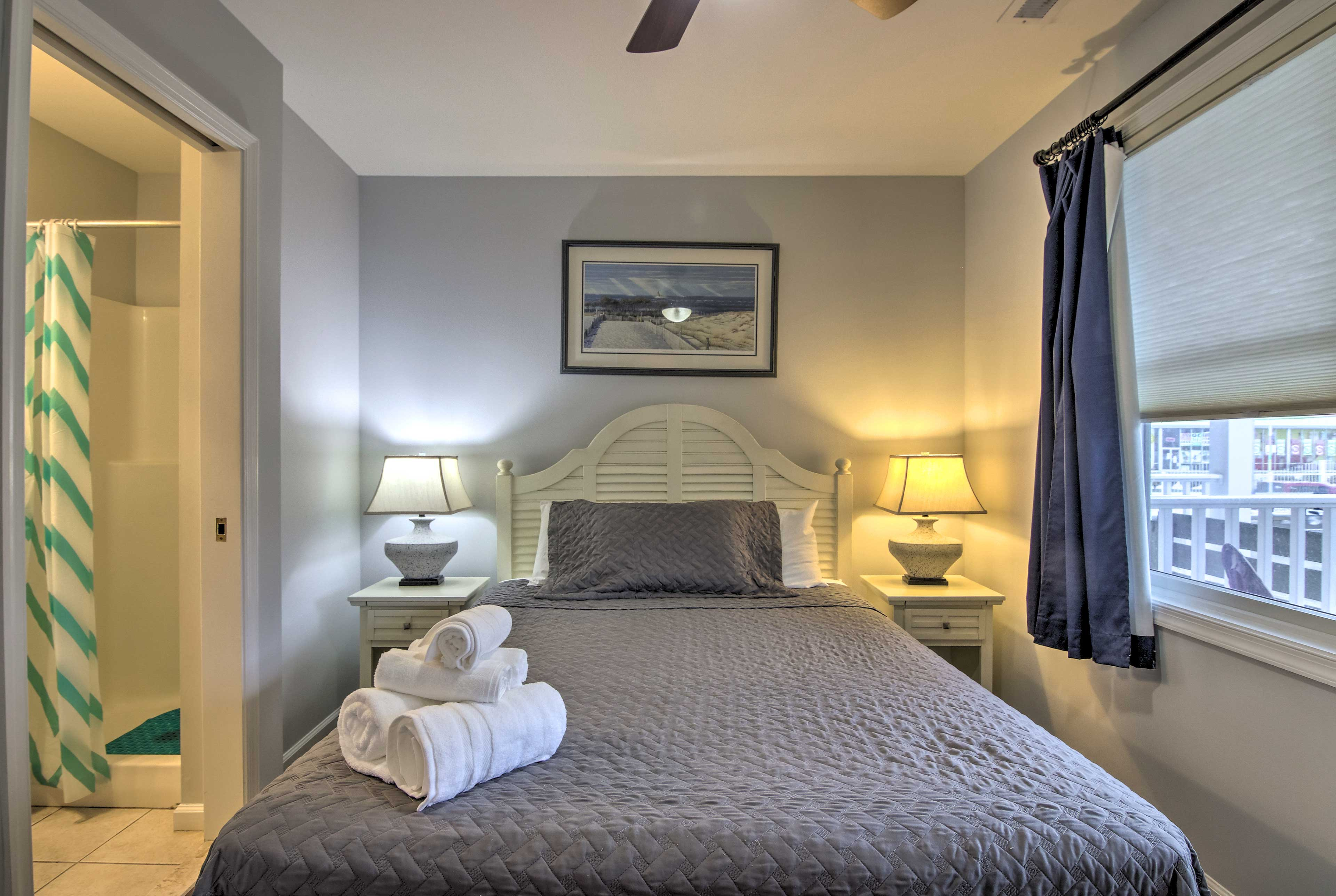 Drift to sleep in this queen bed!