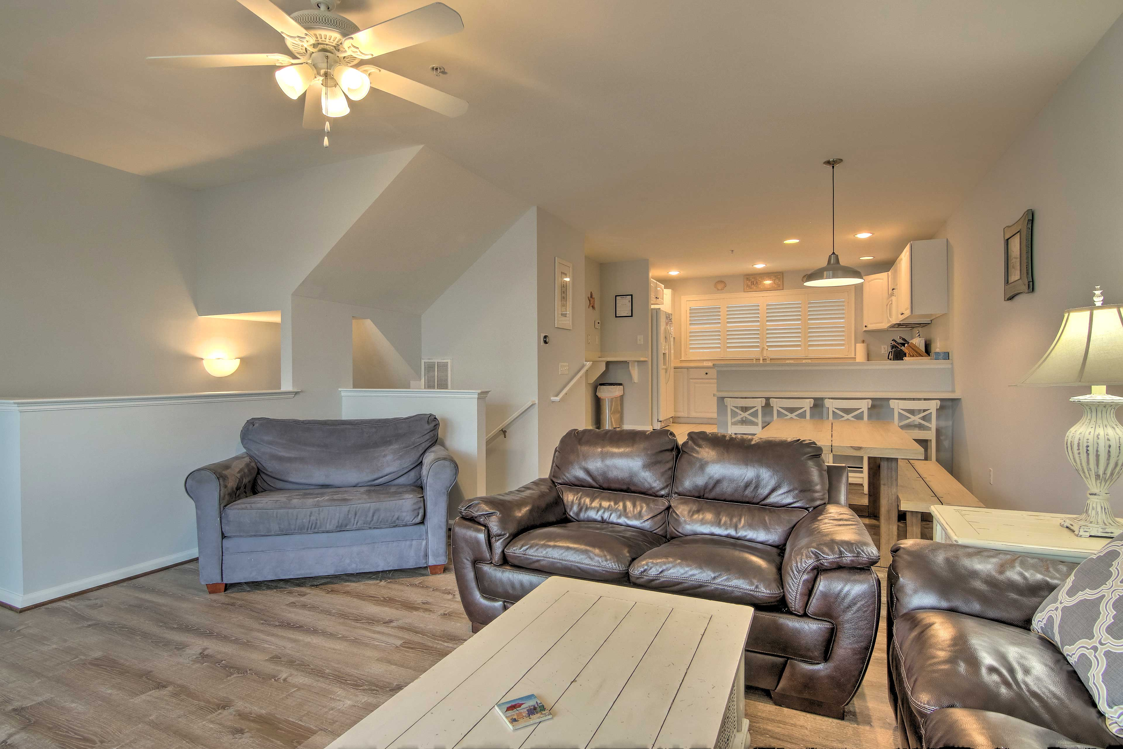 The living room has plenty of seating for your whole group.