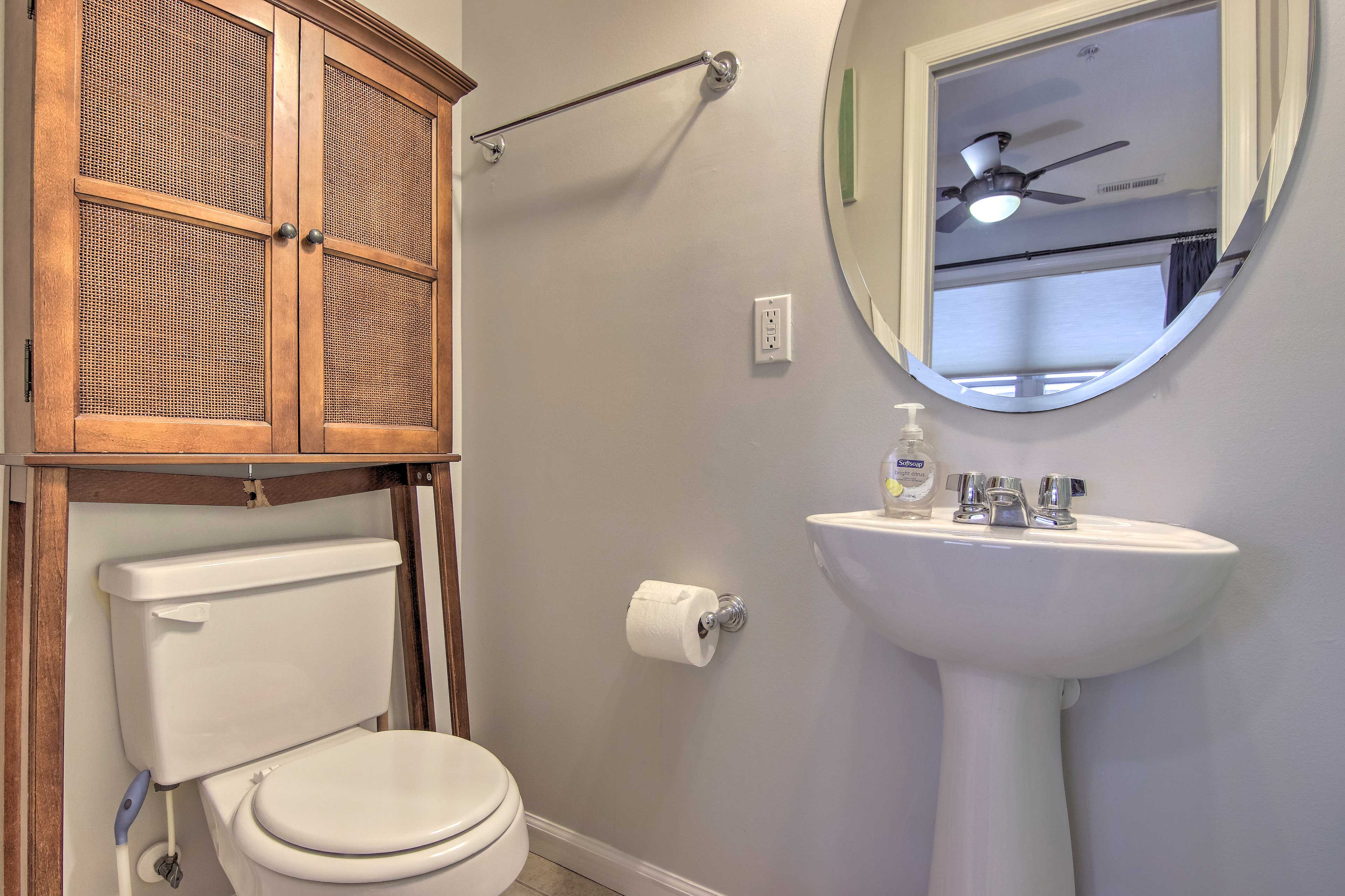 A half bathroom adds convenience to your trip.