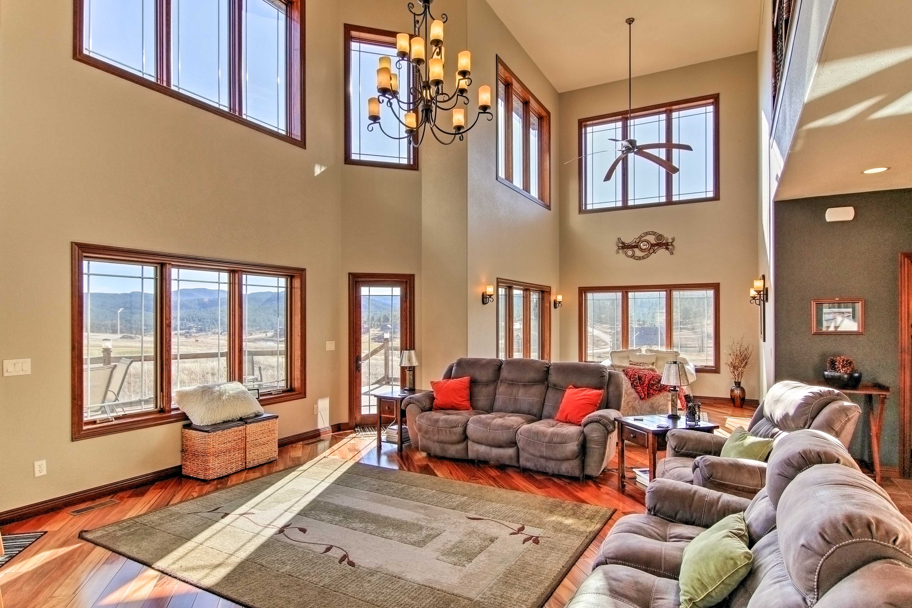 Cathedral ceilings highlight the living space with accommodations for large groups.