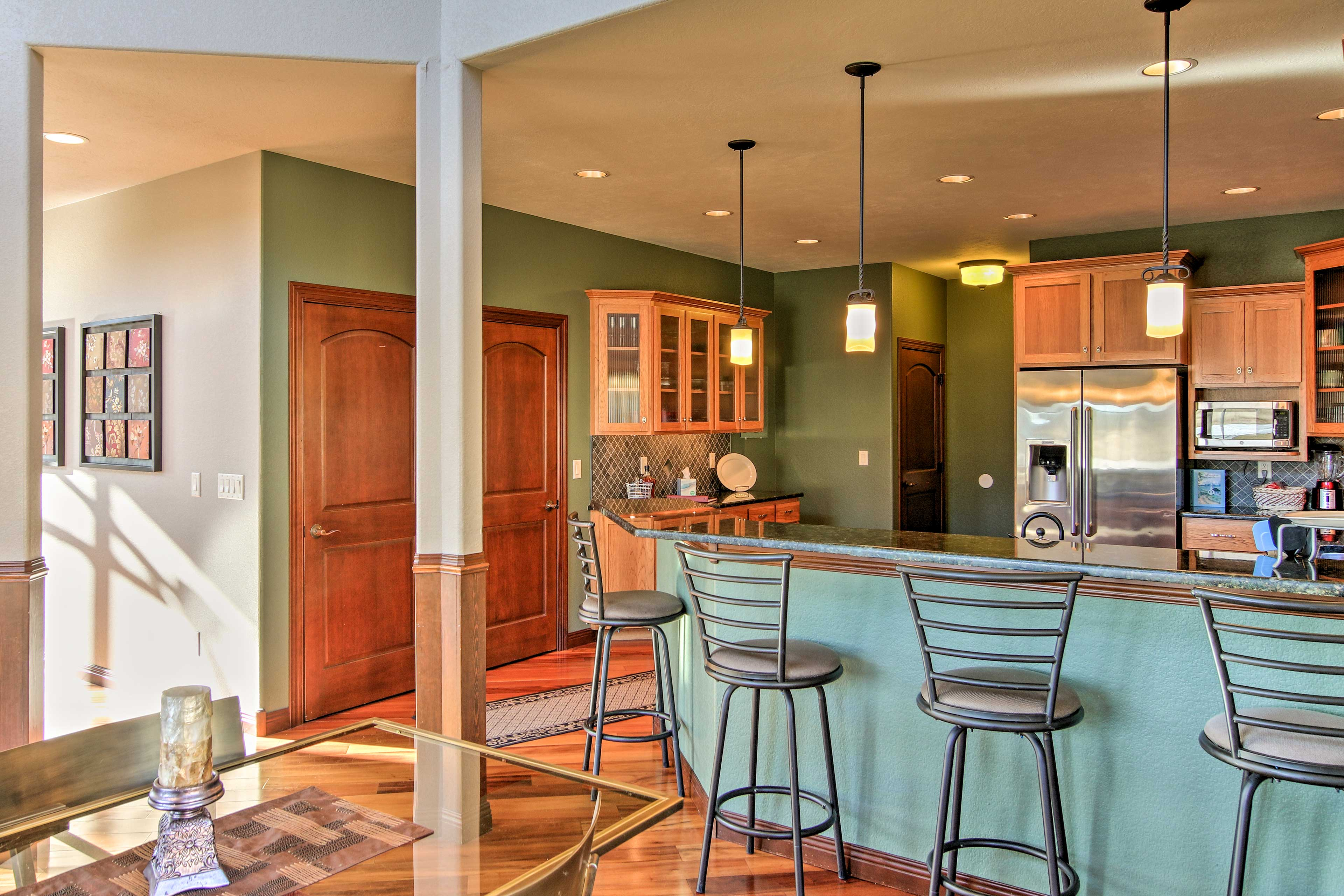 The kitchen opens freely to the spacious living room.