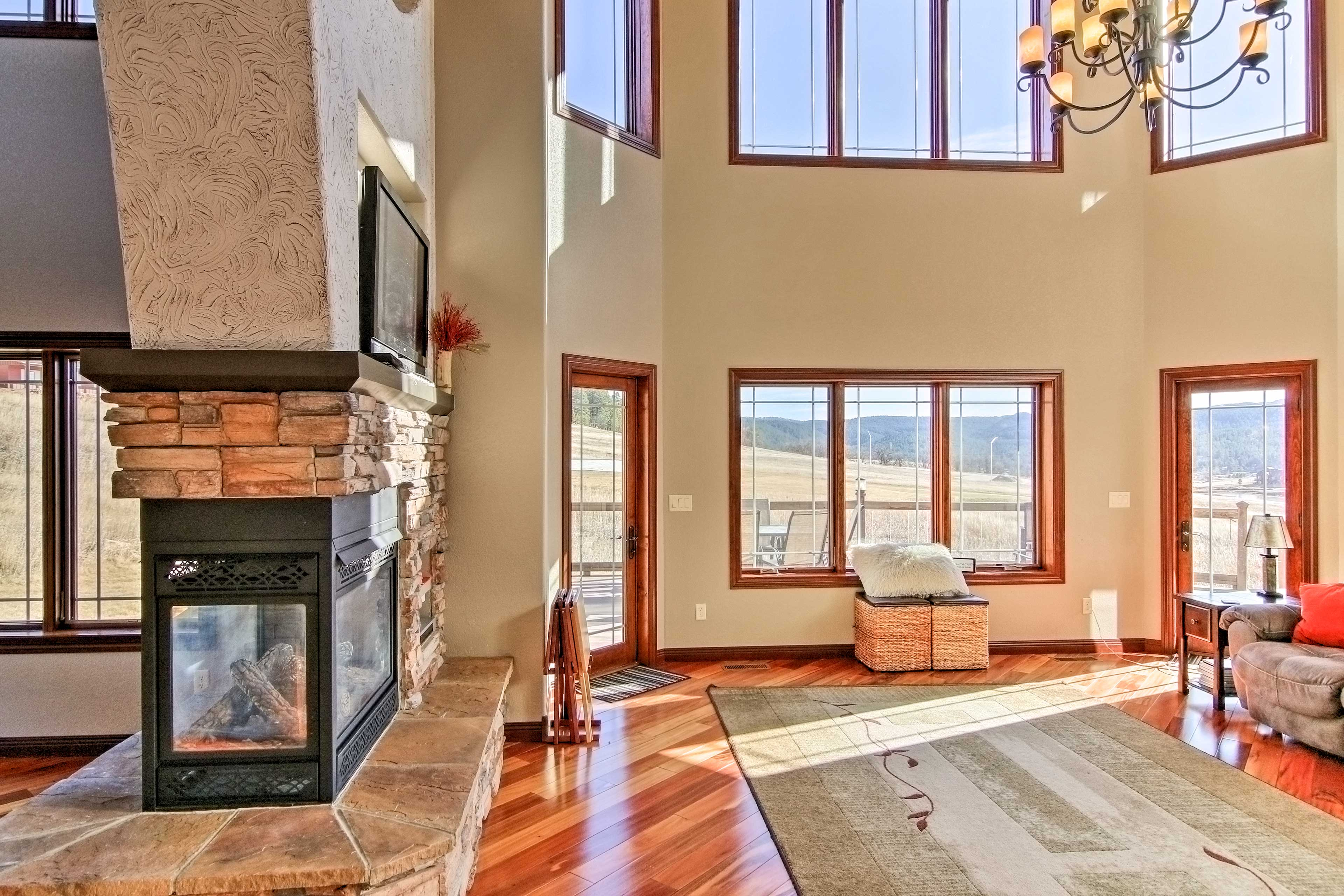 Look out to stunning views through the large picture windows.