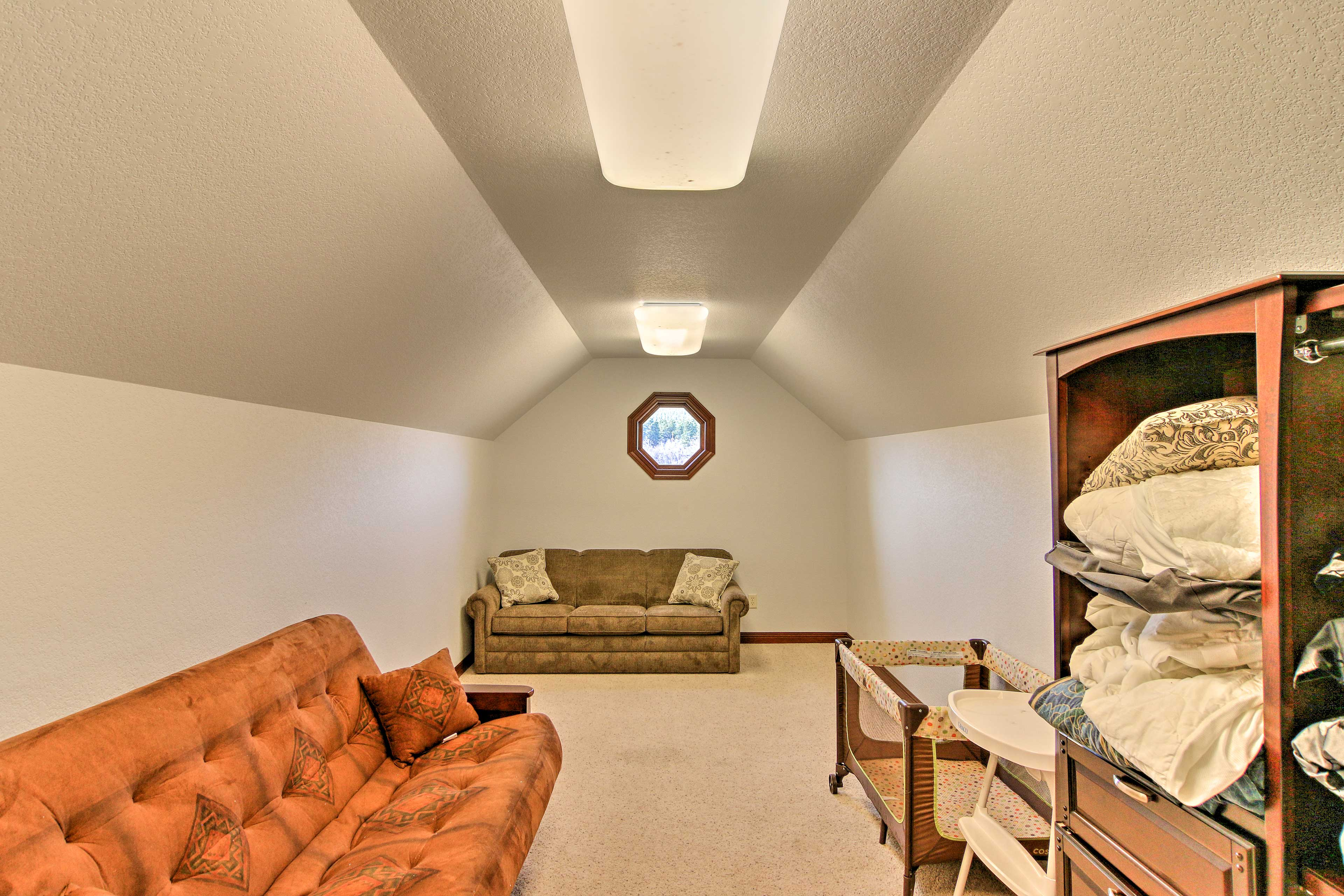 The loft provides additional sleeping space.